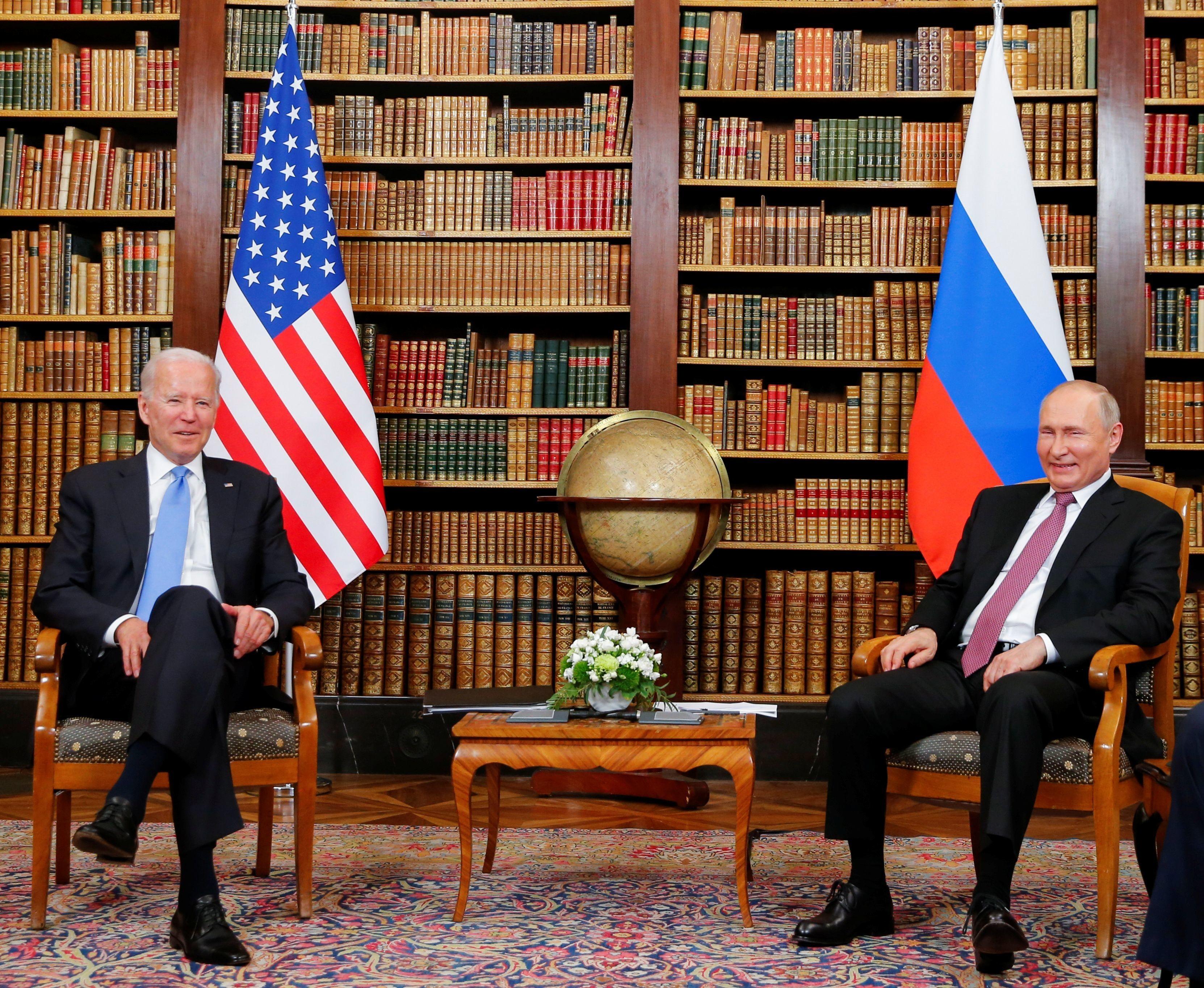 U.S. President Joe Biden and Russia's President Vladimir Putin meet for the U.S.-Russia summit at Villa La Grange in Geneva, Switzerland, June 16, 2021. REUTERS/Denis Balibouse/Pool - RC2P1O939N7T