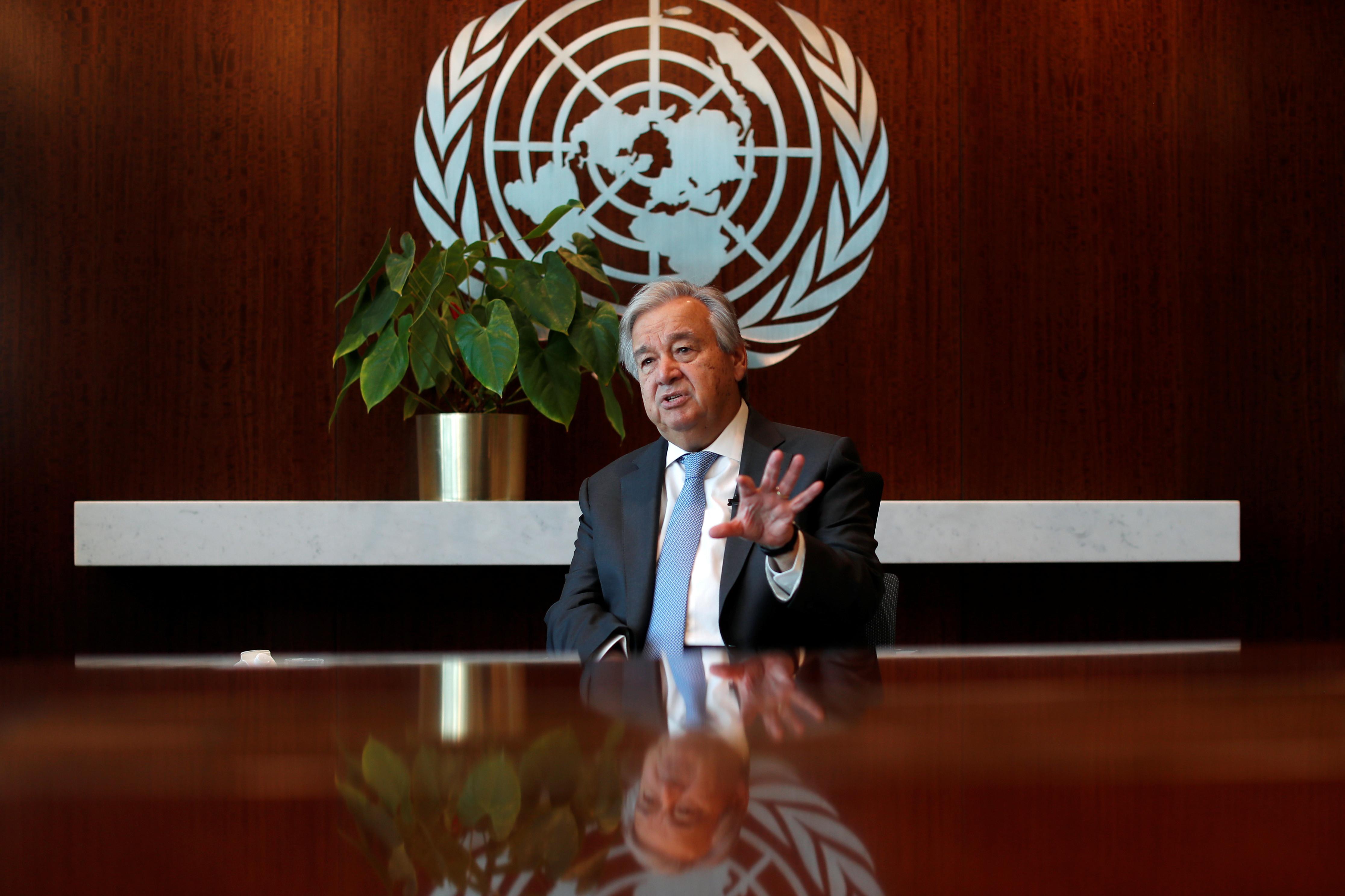 United Nations Secretary-General Antonio Guterres speaks during an interview with Reuters at U.N. headquarters in New York City, New York, U.S., September 14, 2020. Picture taken September 14, 2020. REUTERS/Mike Segar - RC2WYI9DGFV8
