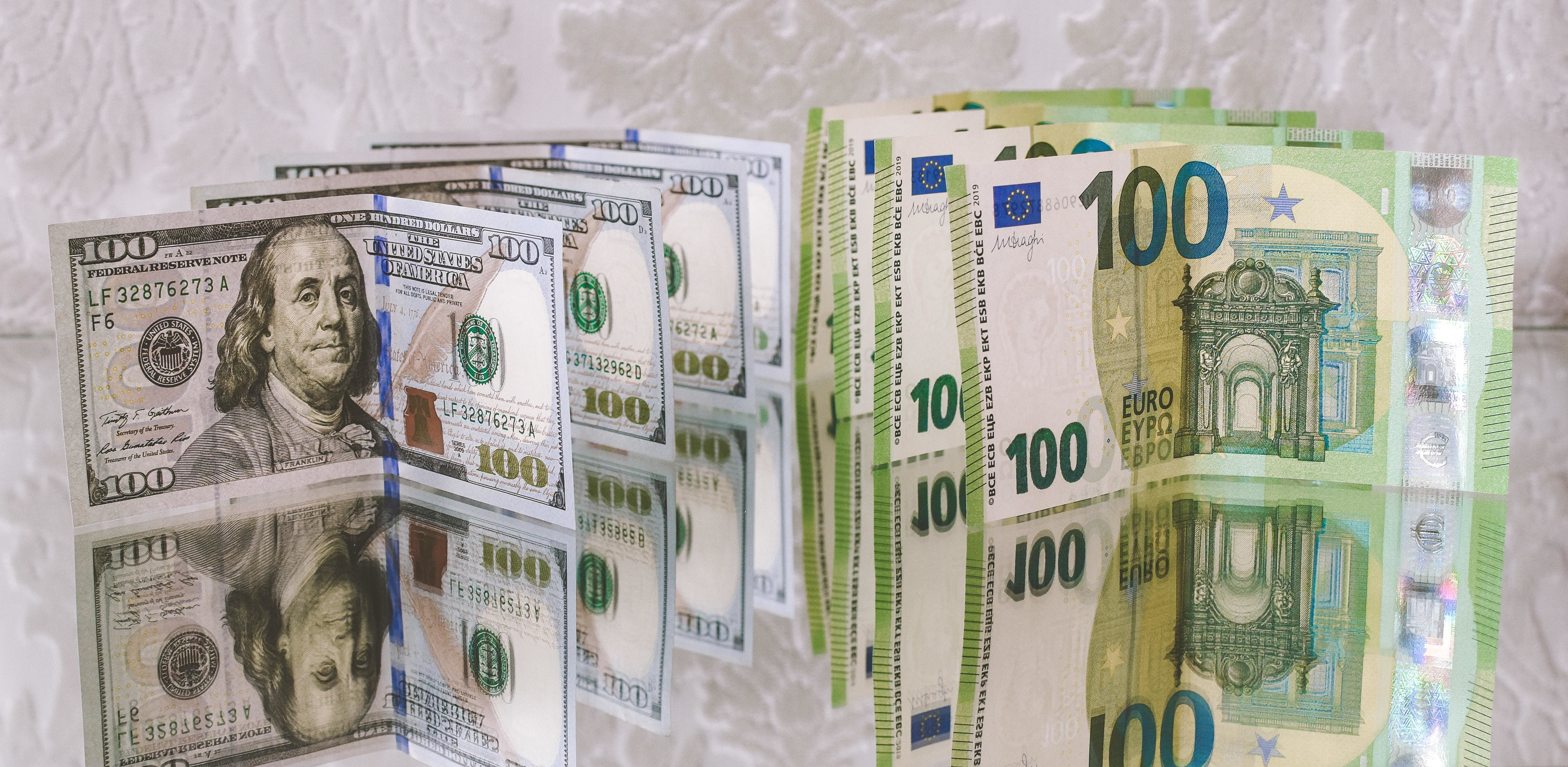 Dollar bills and euro notes lined up symbolising economic growth.