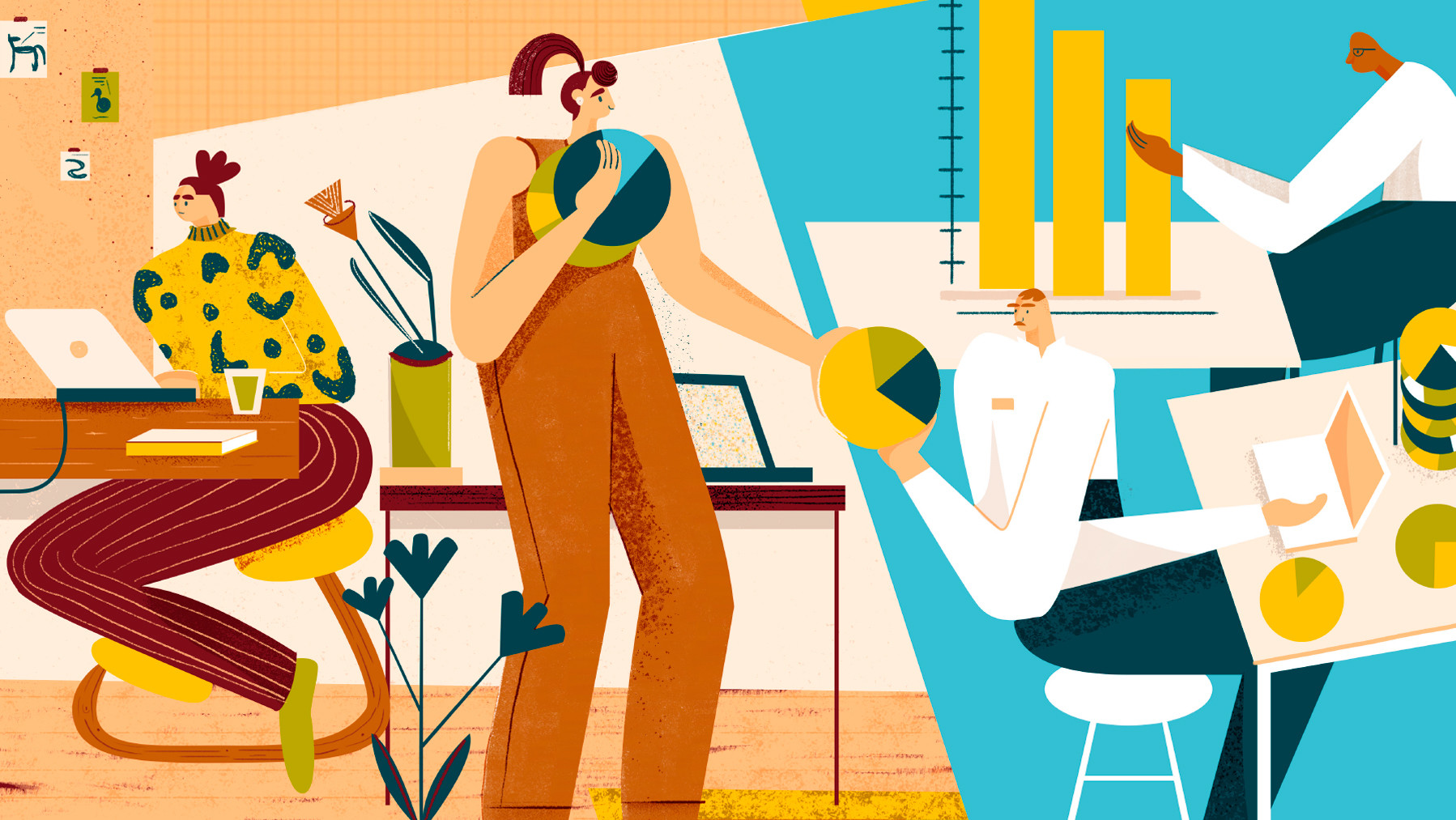 Illustrations showing data being used in the workplace.