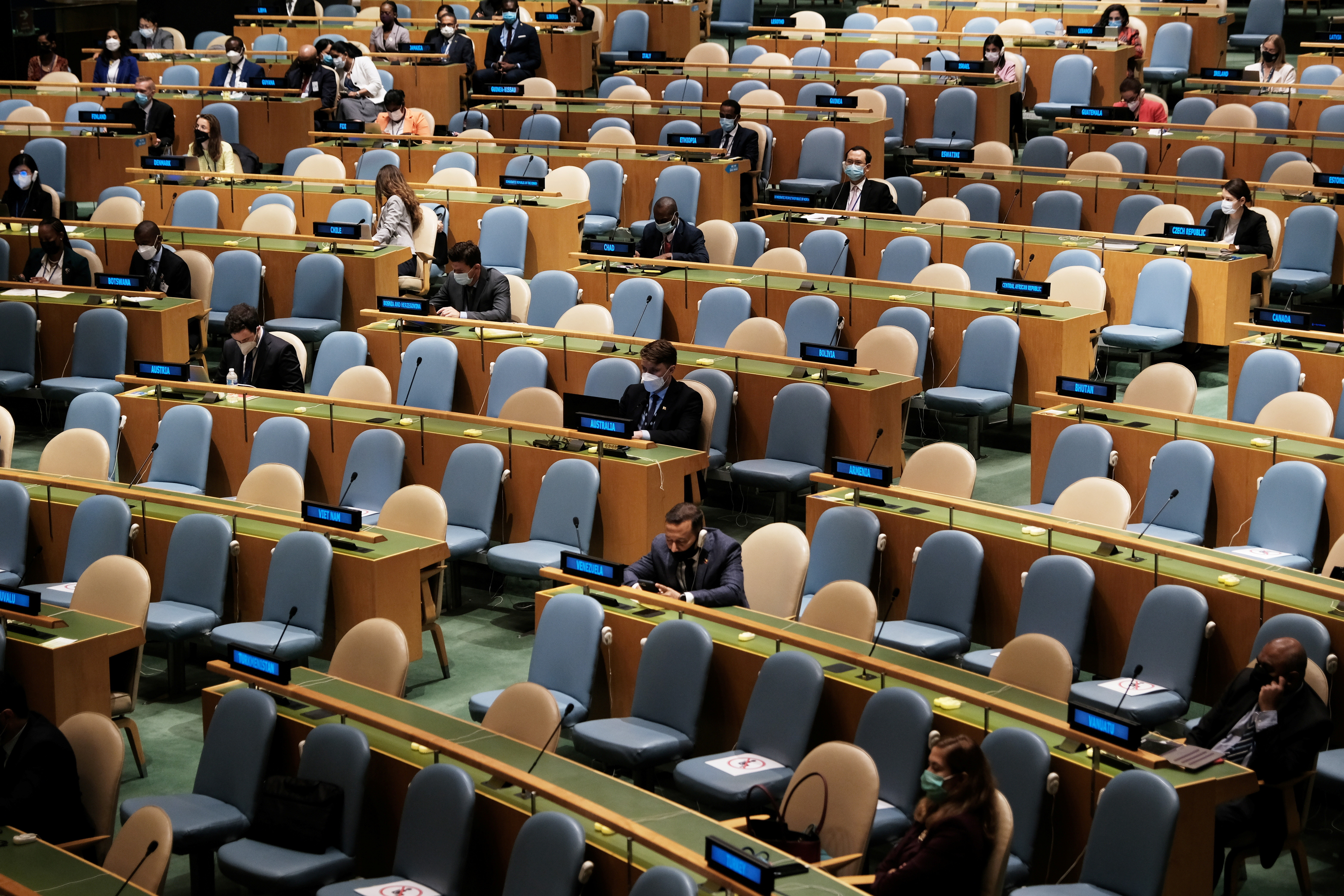Due to coronavirus disease (COVID-19) restrictions, a smaller number of delegates are attending the 76th session of the United Nations General Assembly at the U.N. headquarters in New York, U.S., September 23, 2021. Spencer Platt/Pool via REUTERS - RC2LVP9MO681