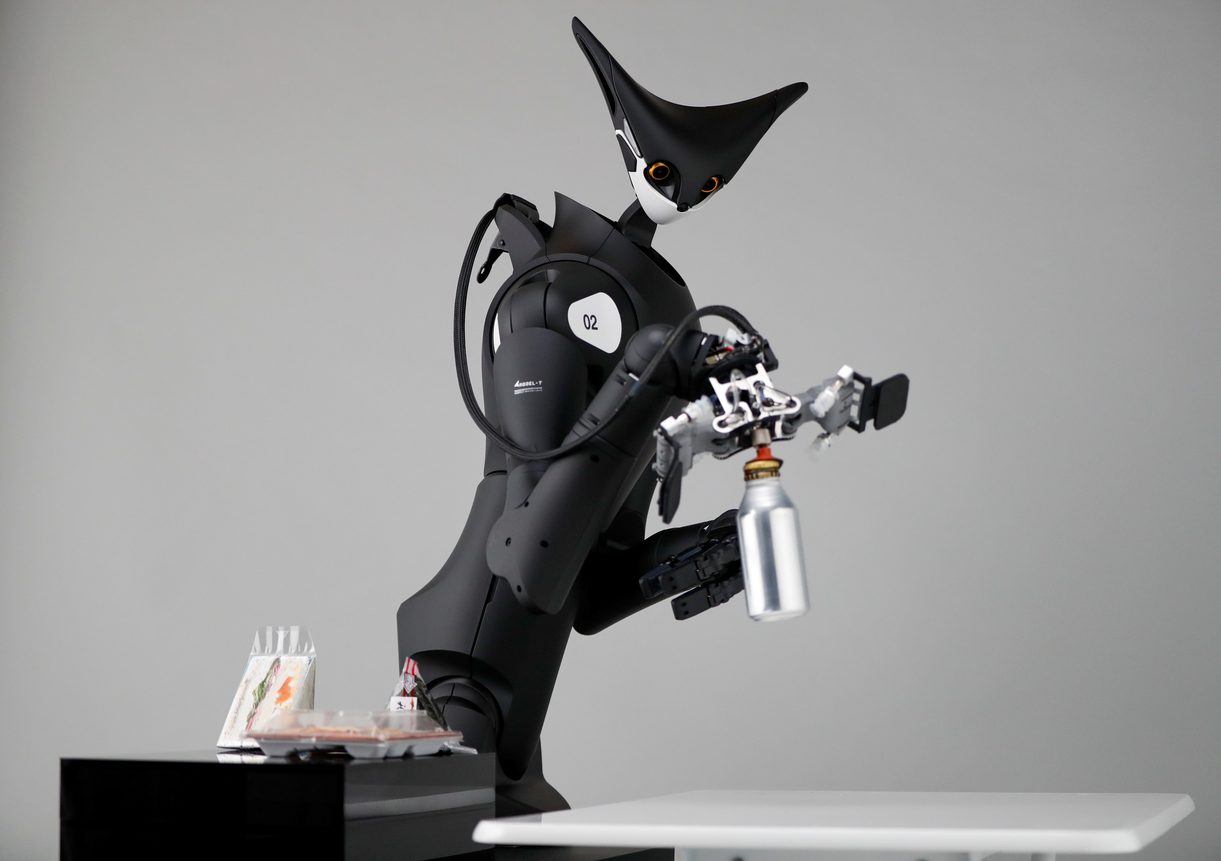 Image of Telexistence's shelf-stacking avatar robot, designed to resemble a kangaroo and developed to work in a convenience store