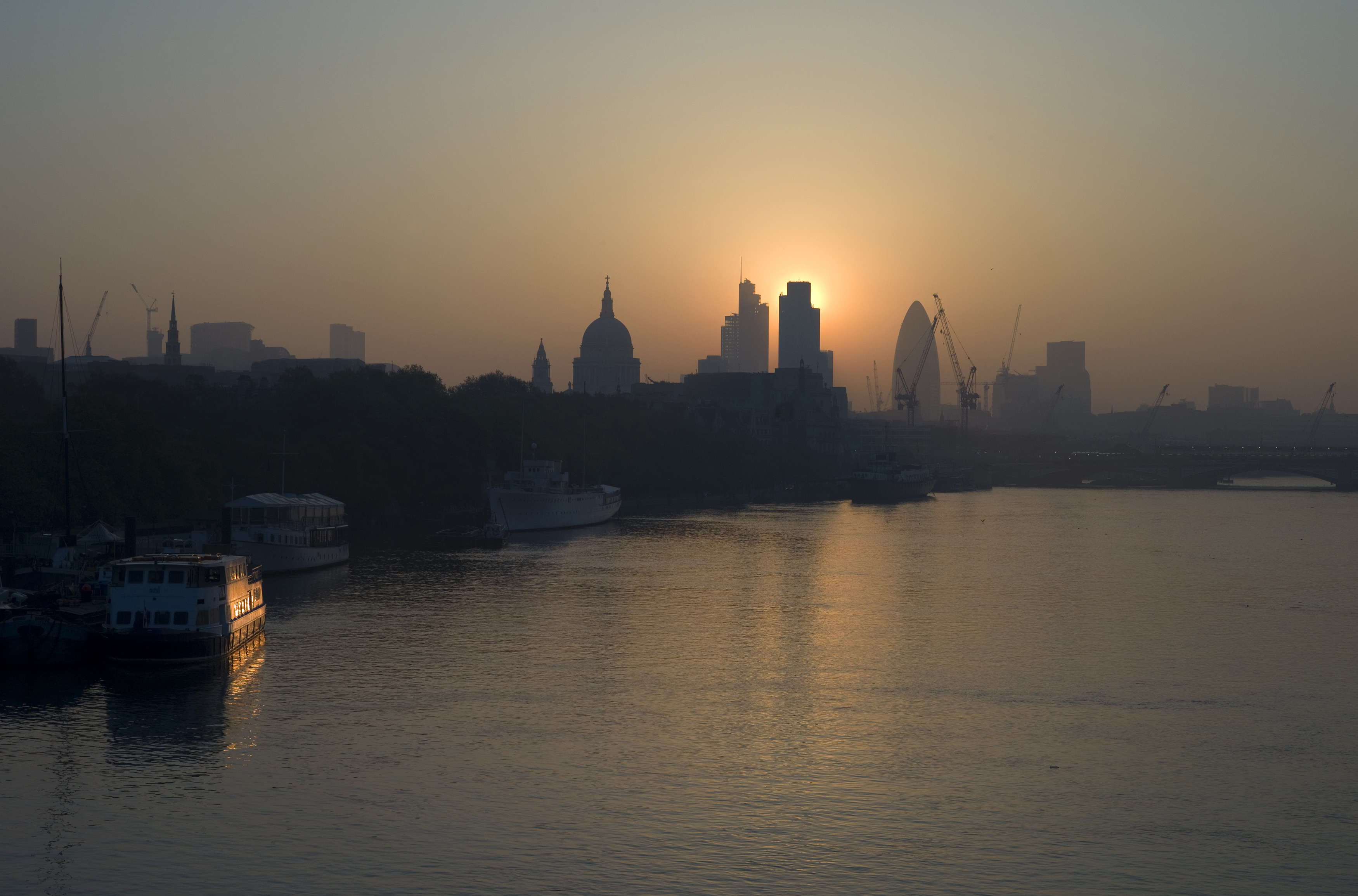 The City of London on a smoggy morning.