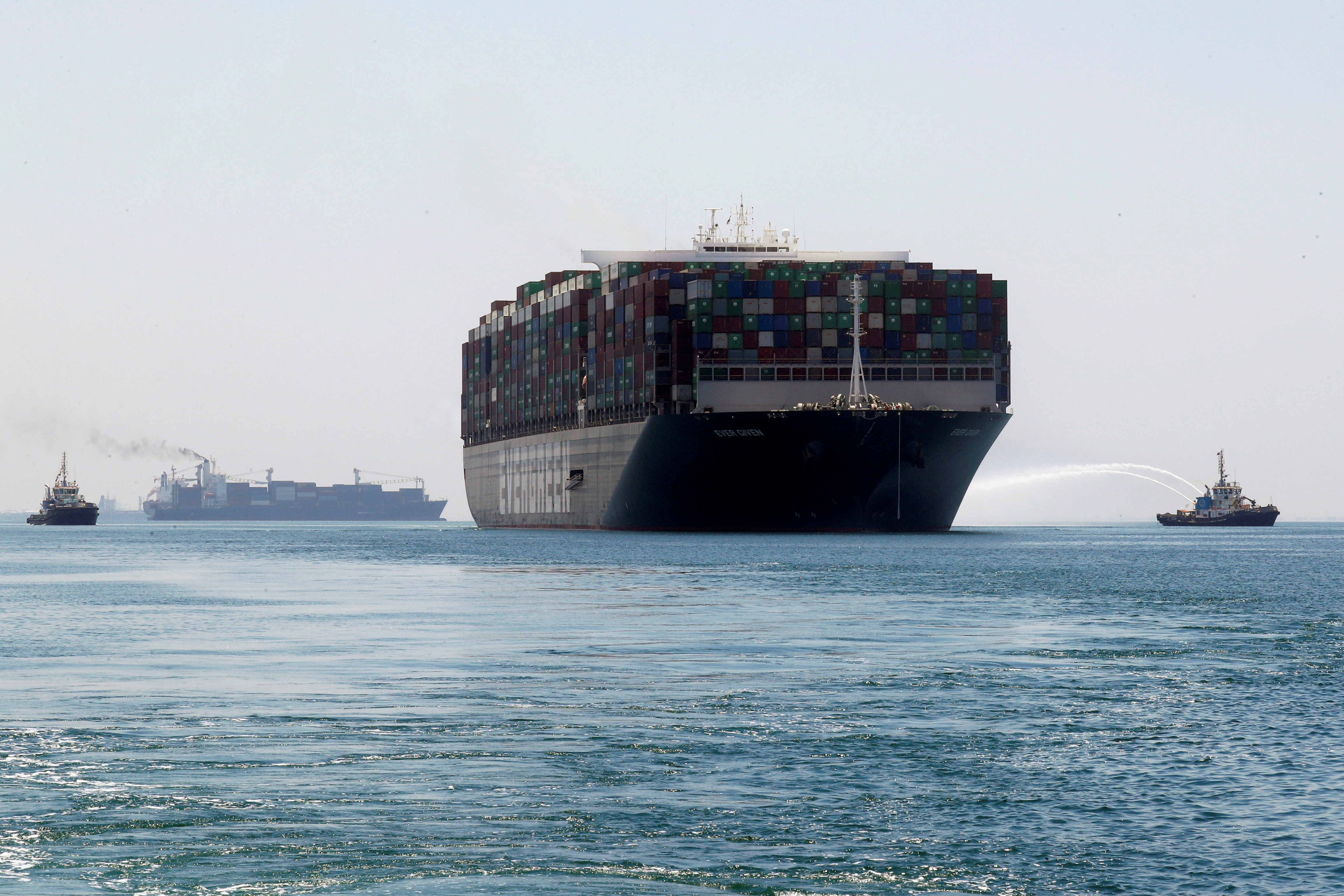 Ever Given, one of the world's largest container ships, sets sail to leave at the Suez Canal after the canal authority reached a settlement with the vessel's owner and insurers, in Ismailia, Egypt, July 7, 2021. REUTERS/Amr Abdallah Dalsh - RC2LFO98X8GR