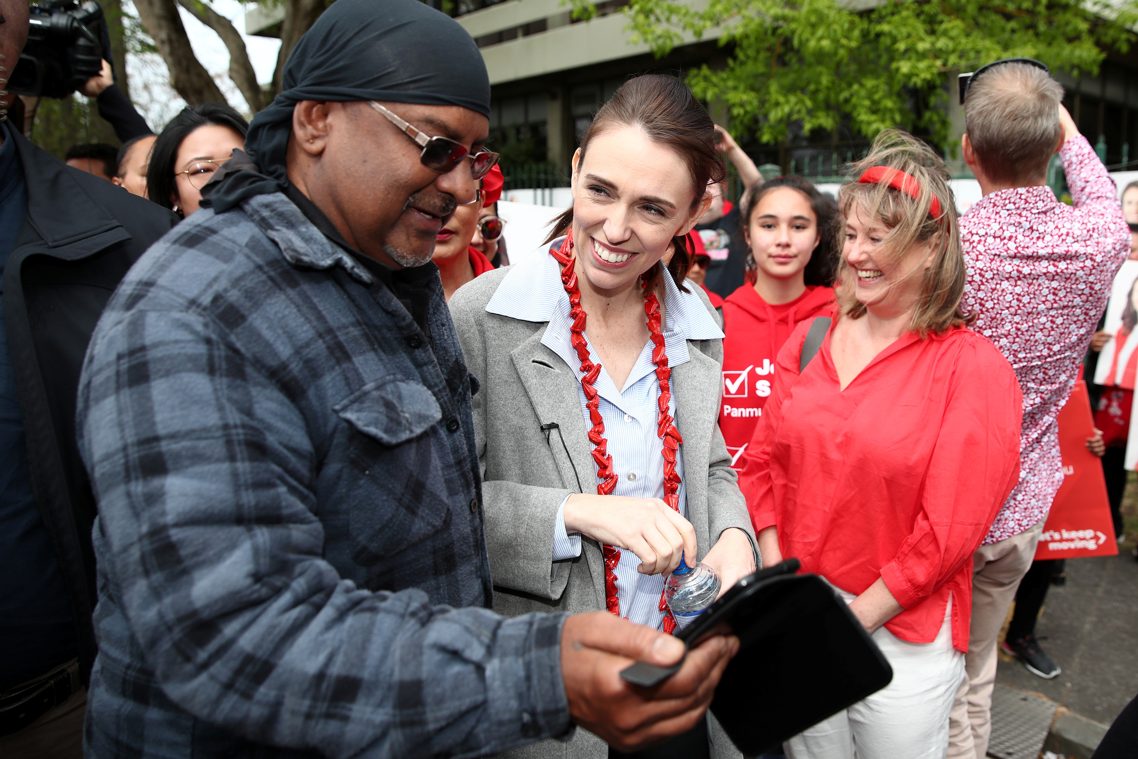 New Zealand's Prime Minister Jacinda Ardern greets memebers of the public in Auckland, New Zealand