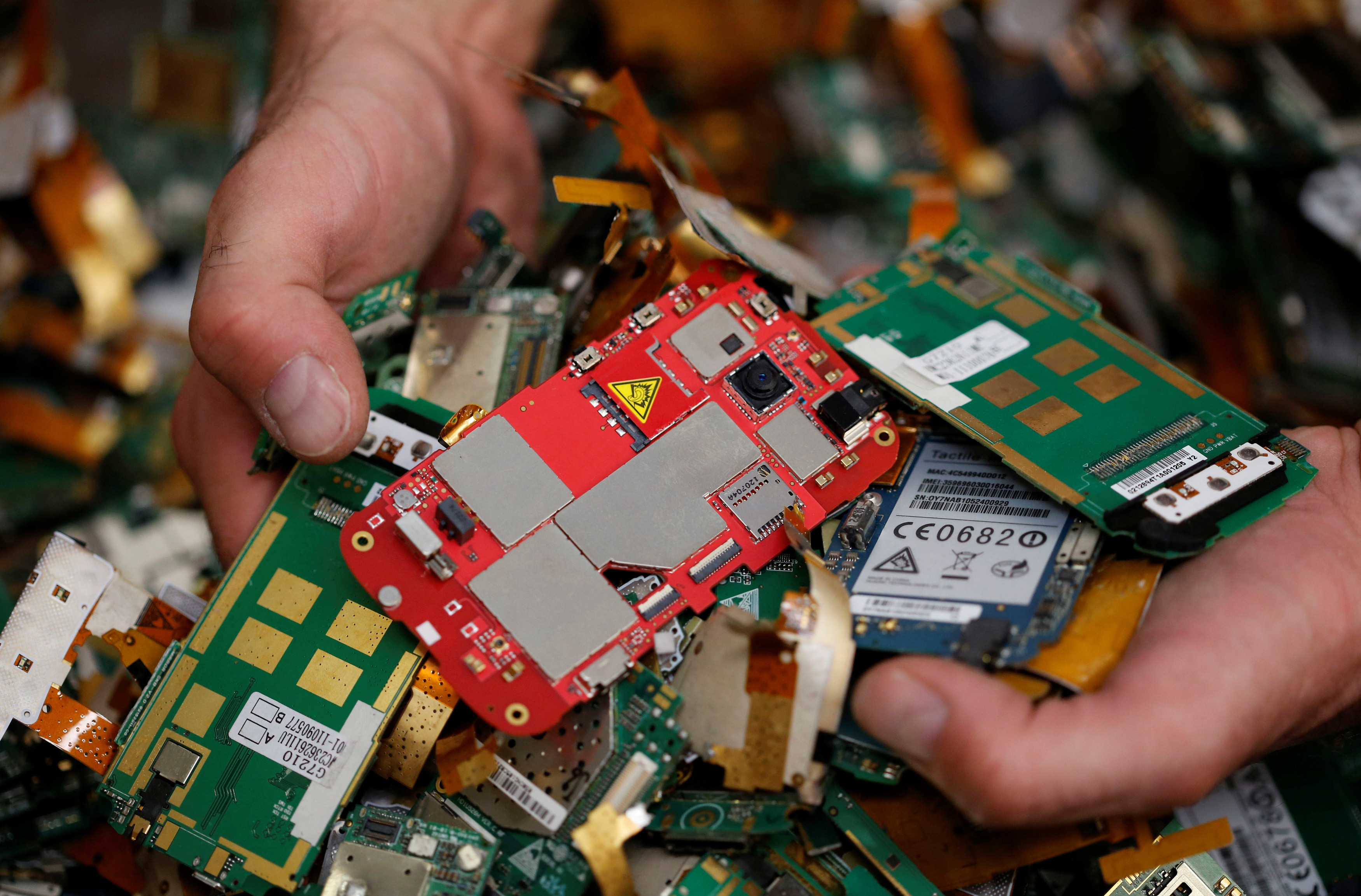 A recycling company worker selects computer cards of old cell phones