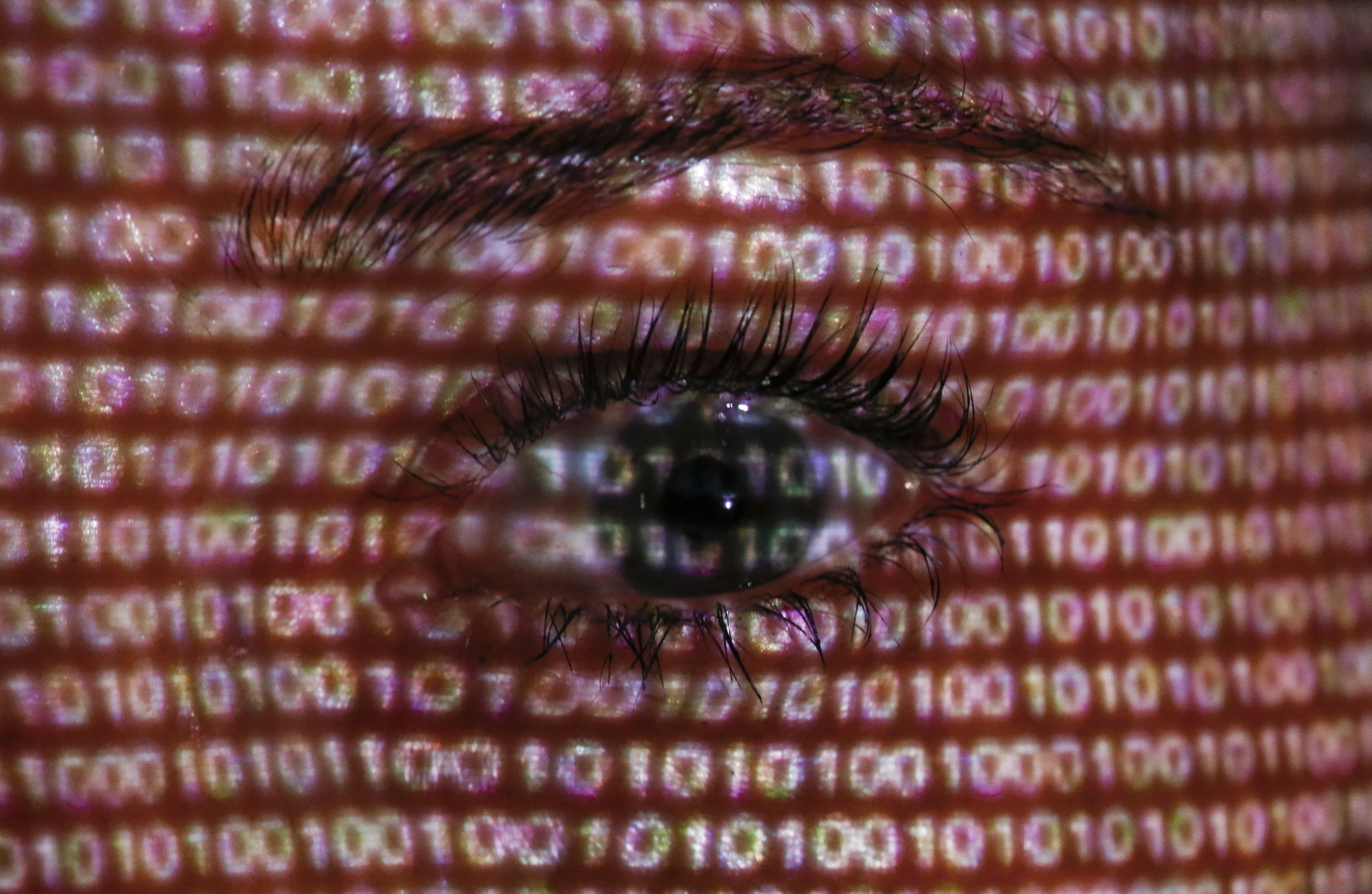 """An illustration picture shows a projection of text on the face of a woman in Berlin, June 12, 2013. The European Union's chief justice official has written to the U.S. attorney general demanding an explanation for the collection of foreign nationals' data following disclosures about the """"PRISM"""" spy programme.   REUTERS/Pawel Kopczynski  (GERMANY - Tags: SOCIETY POLITICS) - BM2E96C1BH701"""