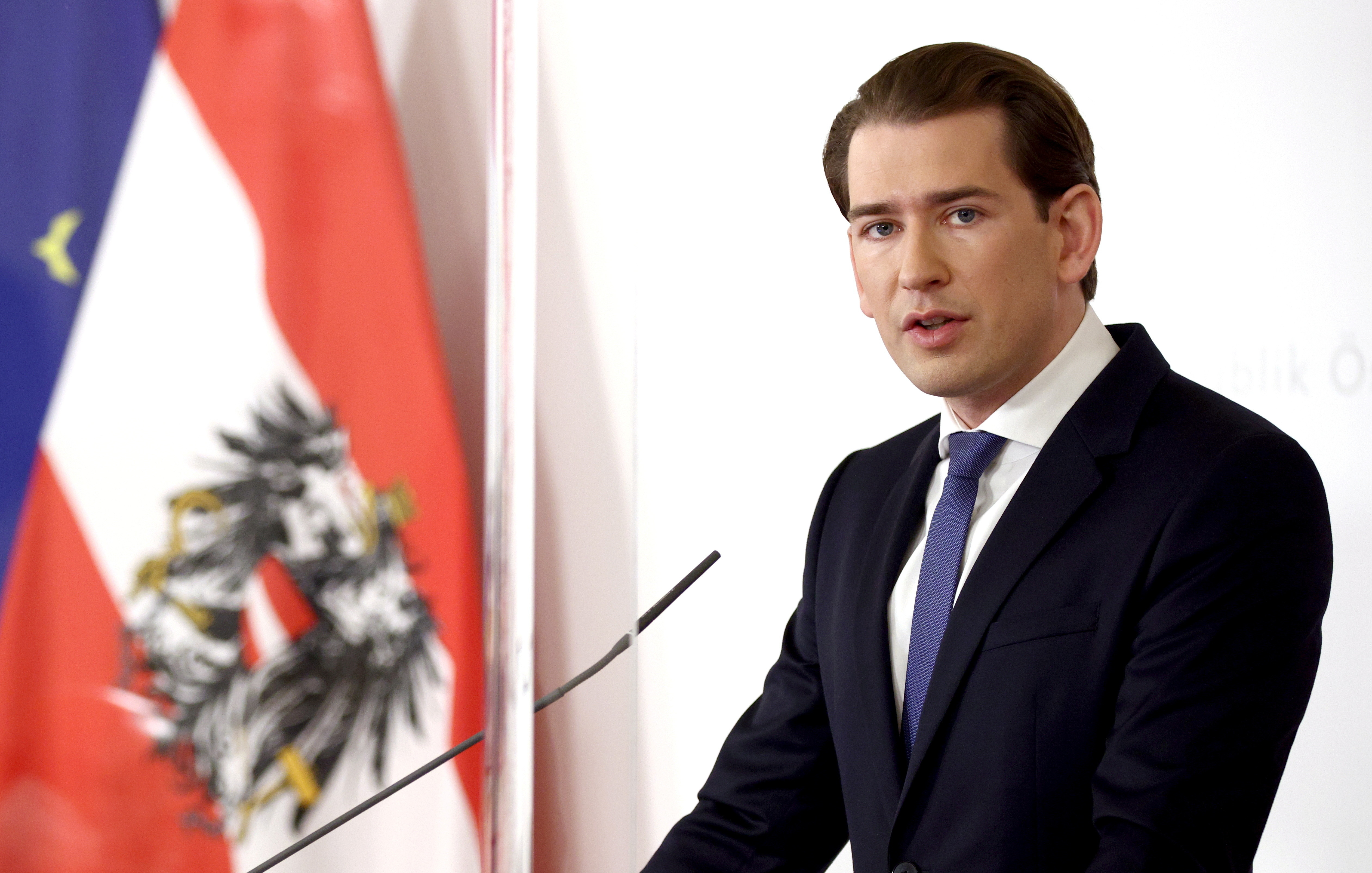 Austria's Chancellor Sebastian Kurz speaks during a news conference as the spread of the coronavirus disease (COVID-19) continues, in Vienna, Austria November 14, 2020.