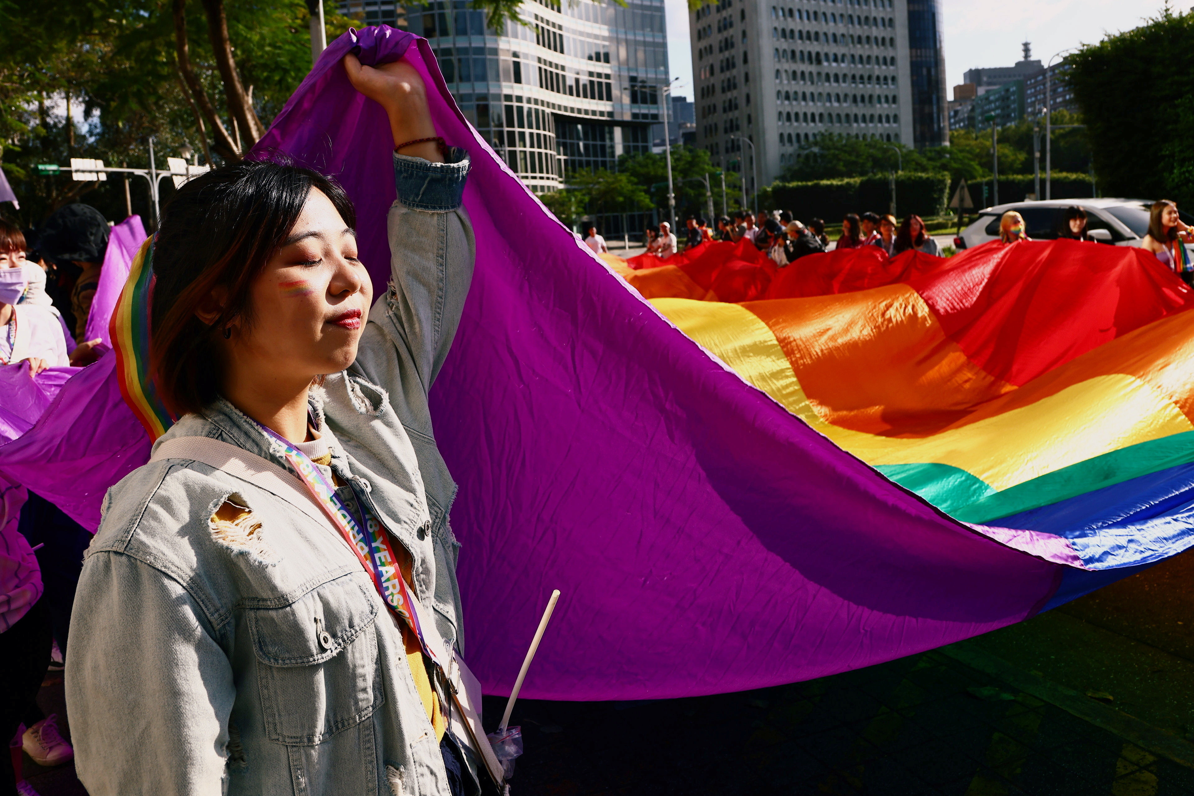 People gather during Asia's biggest pride parade in Taipei, Taiwan October 31, 2020