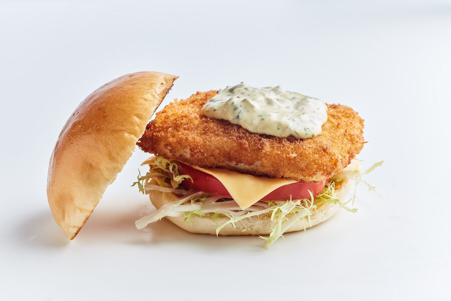A breaded fish burger that is compromised of a lab-grown fried fish filler by food tech start up Avant Meats in Hong Kong