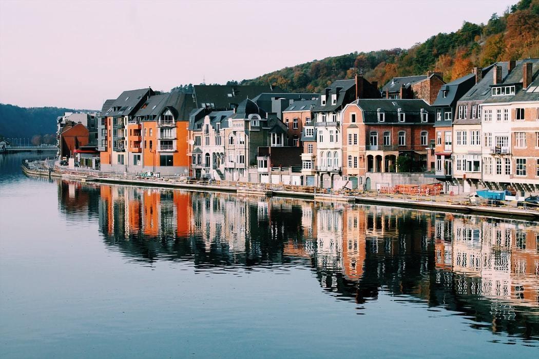Houses on the lake in Dinan, Belgium.