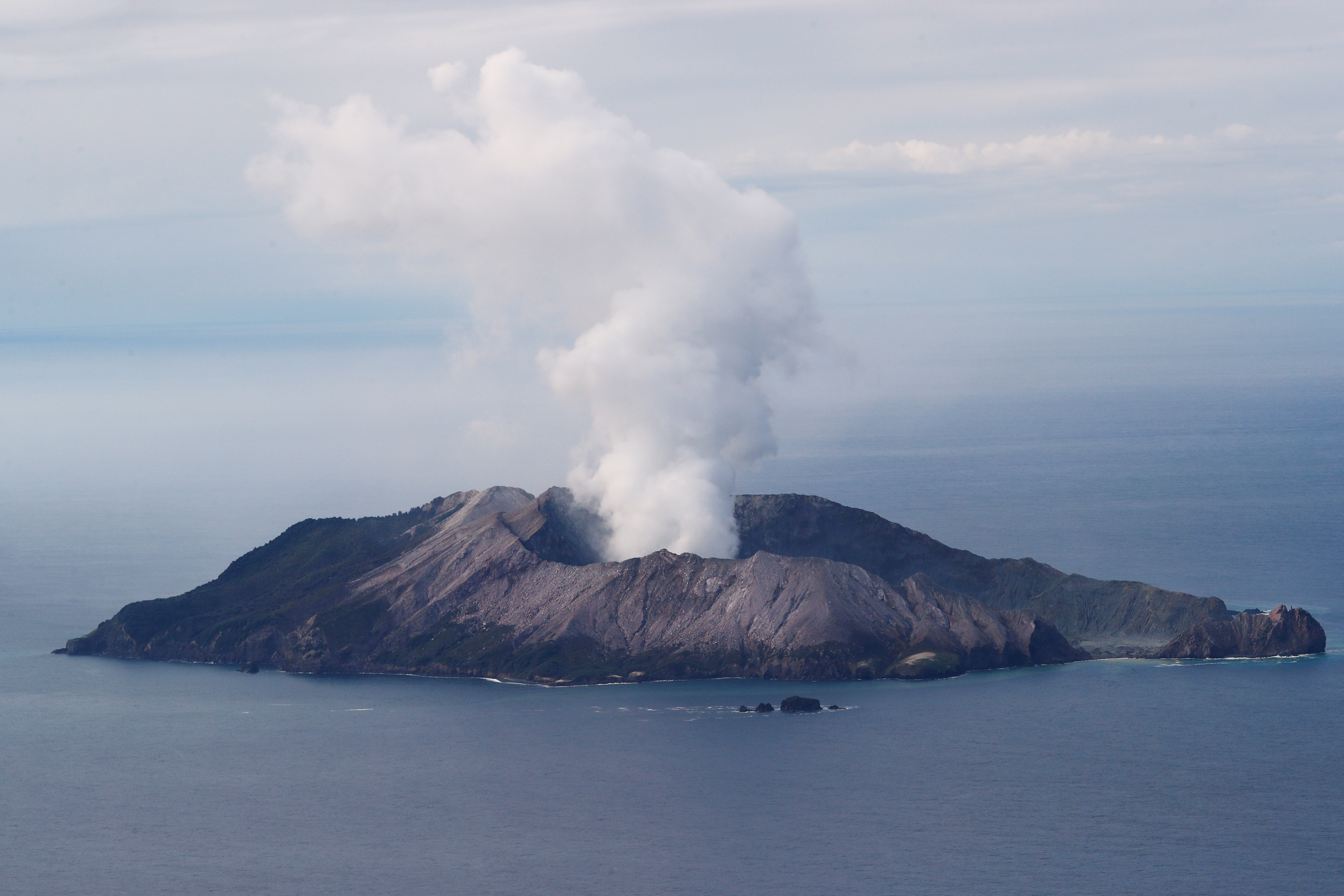 An aerial view of the Whakaari, also known as White Island volcano, in New Zealand, December 12, 2019. REUTERS/Jorge Silva REFILE - CORRECTING LOCATION - RC2HTD9S77NQ