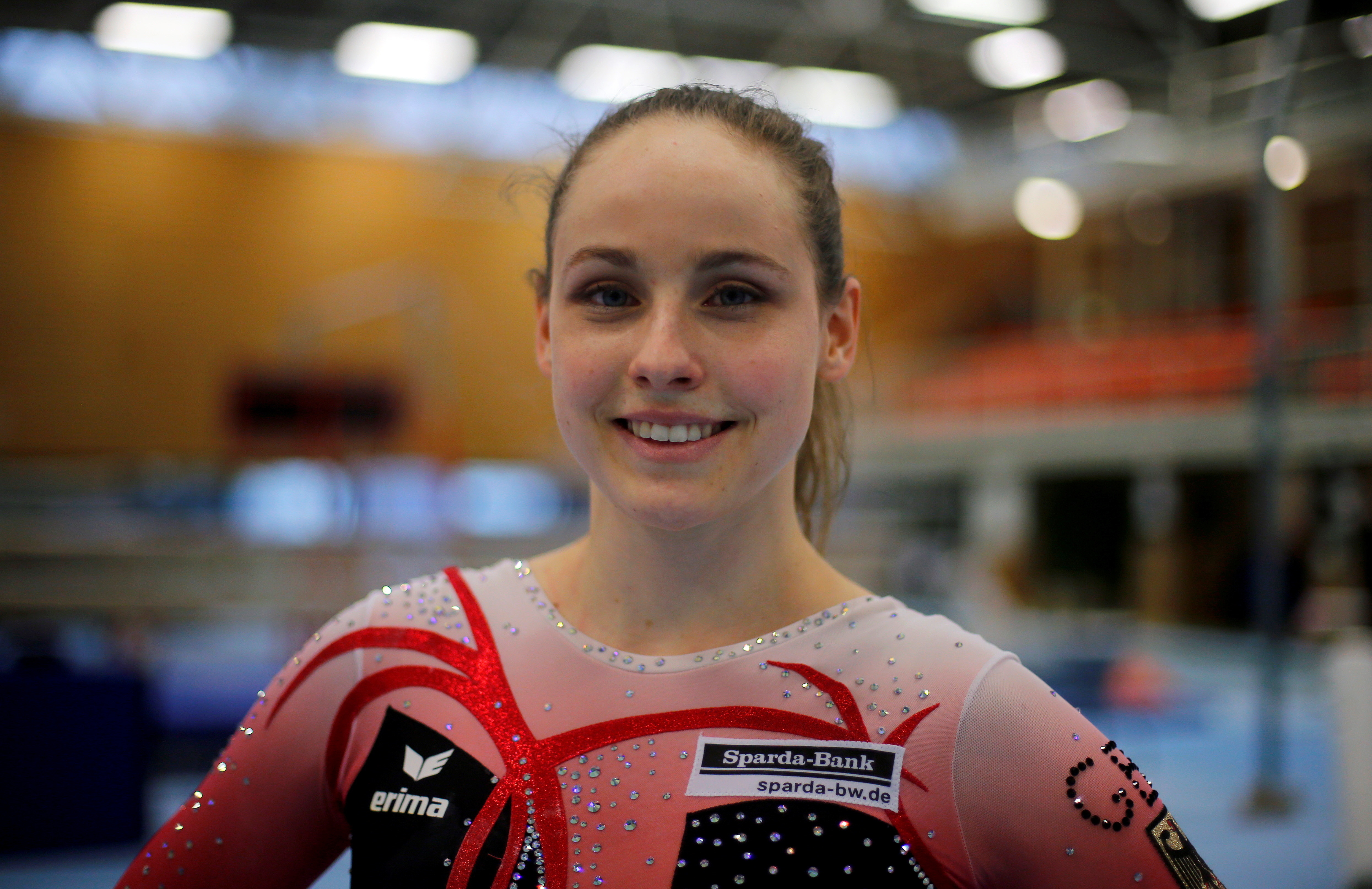 German artistic gymnast Sarah Voss poses for a picture in a full body suit during a training session in Cologne, Germany
