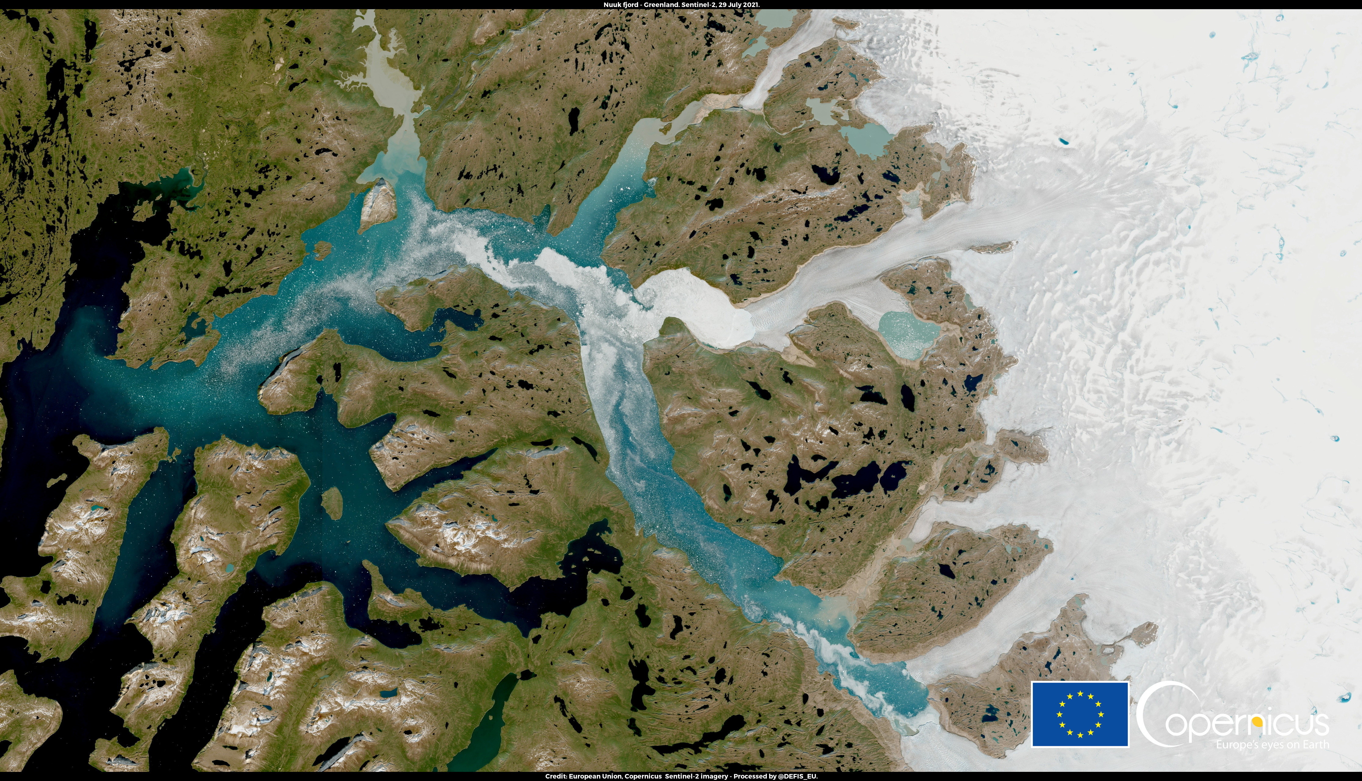 This is a satellite image of part of Greenland, the world's biggest island.
