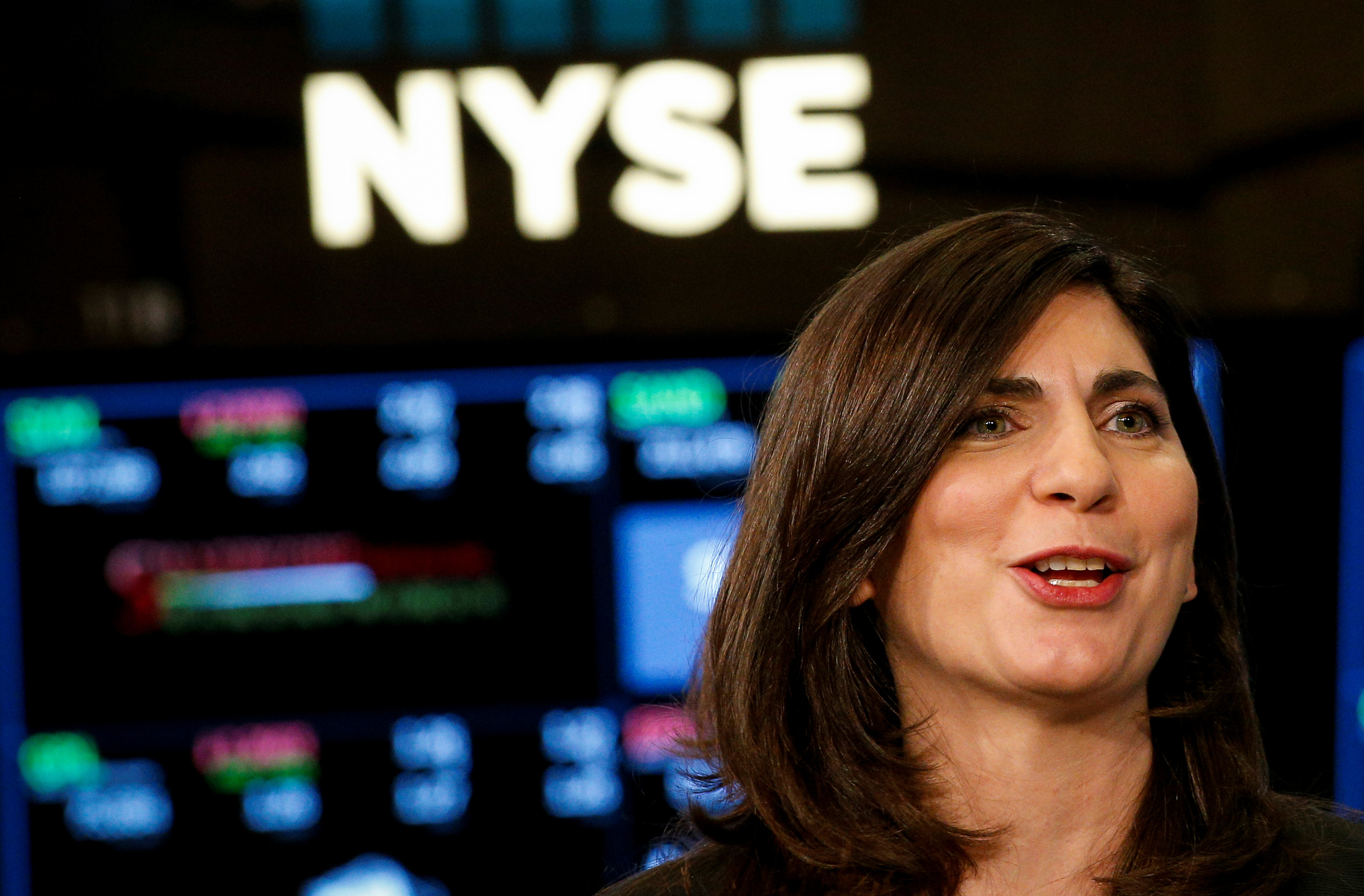 NYSE Chief Operating Officer Stacey Cunningham, who will be the New York Stock Exchange's (NYSE) first female president, speaks during an interview with CNBC on the floor of the NYSE in New York, U.S., May 22, 2018.
