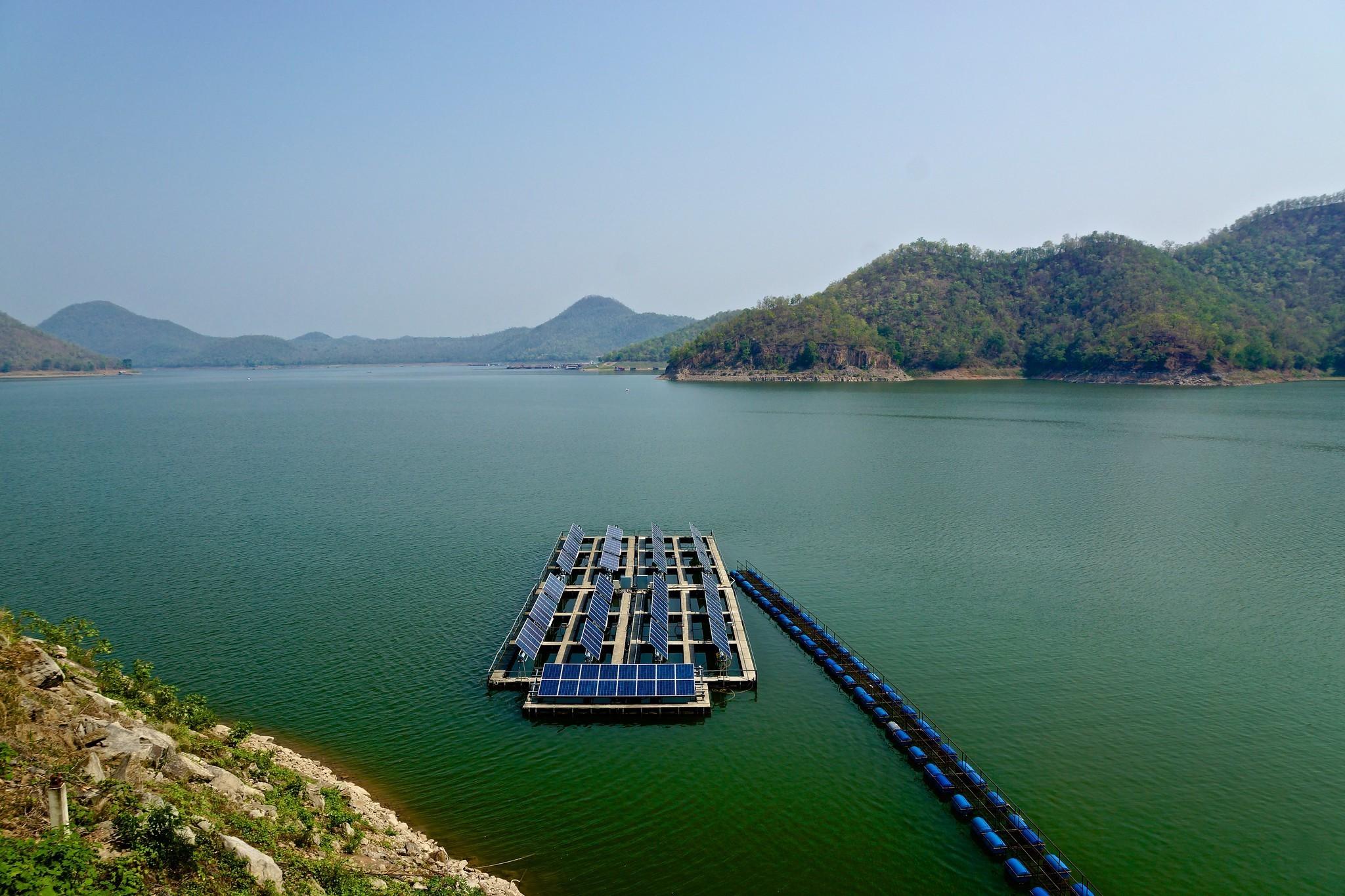 Uwe SchwarzbachFollow Array of solar panels on Srinakarin lake near the dam in Kanchanaburi province, Thailand brucecarlson66, ANNE LOTTE and 46 m