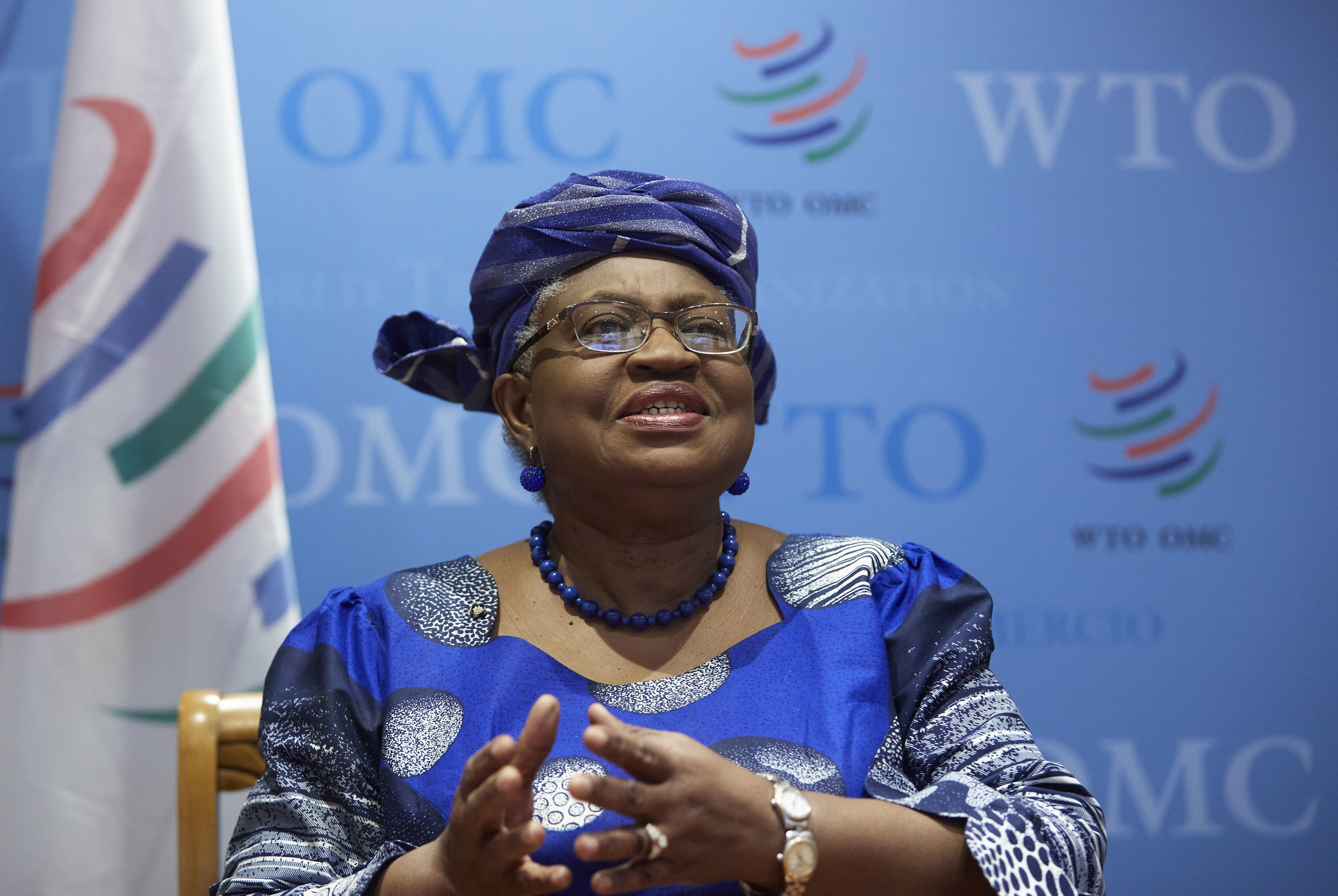 World Trade Organisation (WTO) Director-General Ngozi Okonjo-Iweala attends an interview with Reuters at the WTO headquarters in Geneva, Switzerland, April 12, 2021. REUTERS/Denis Balibouse - RC2HUM966XWH