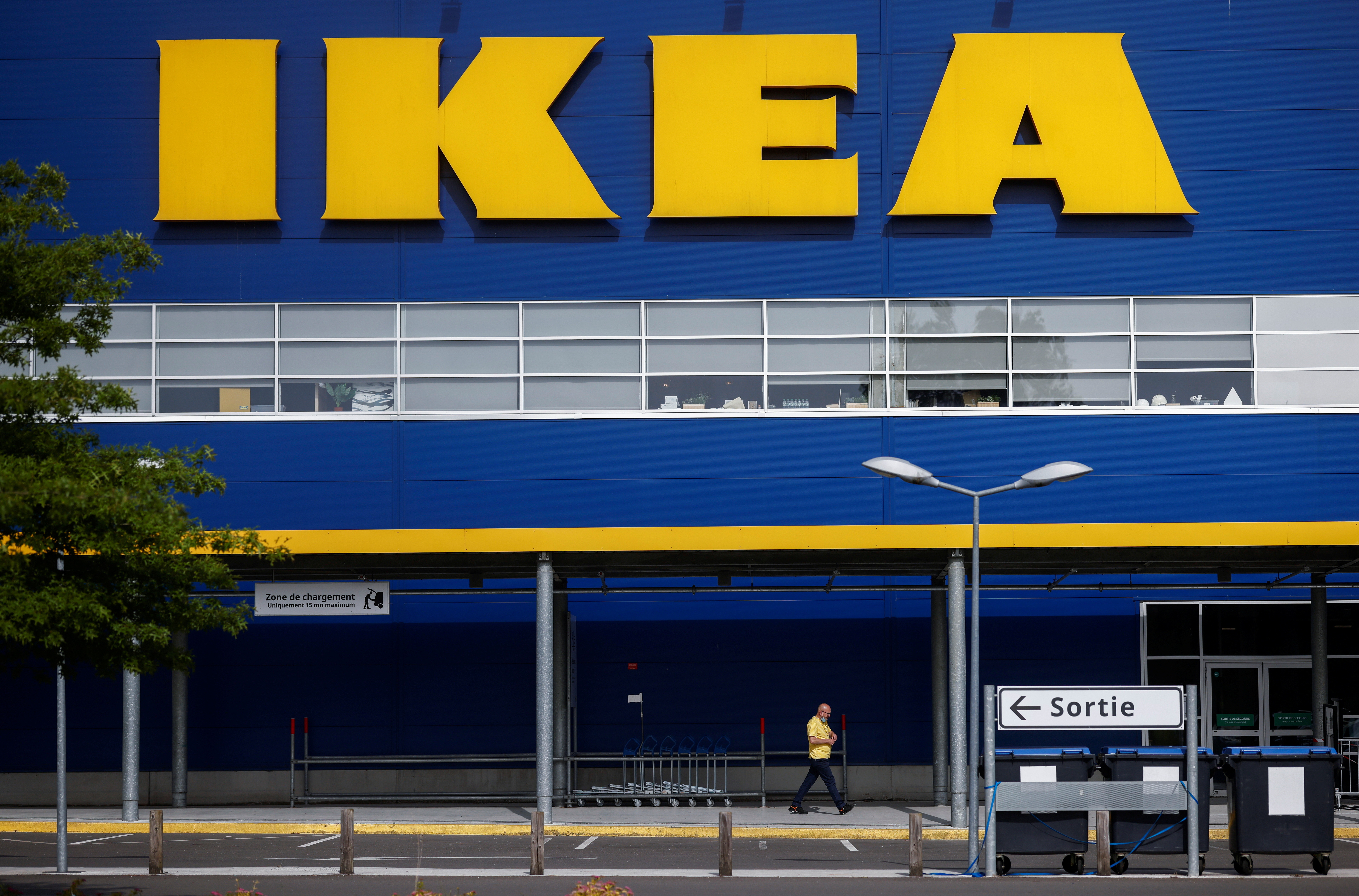 The company's logo is seen outside an IKEA Group store in Pace near Rennes, France, June 15, 2021.