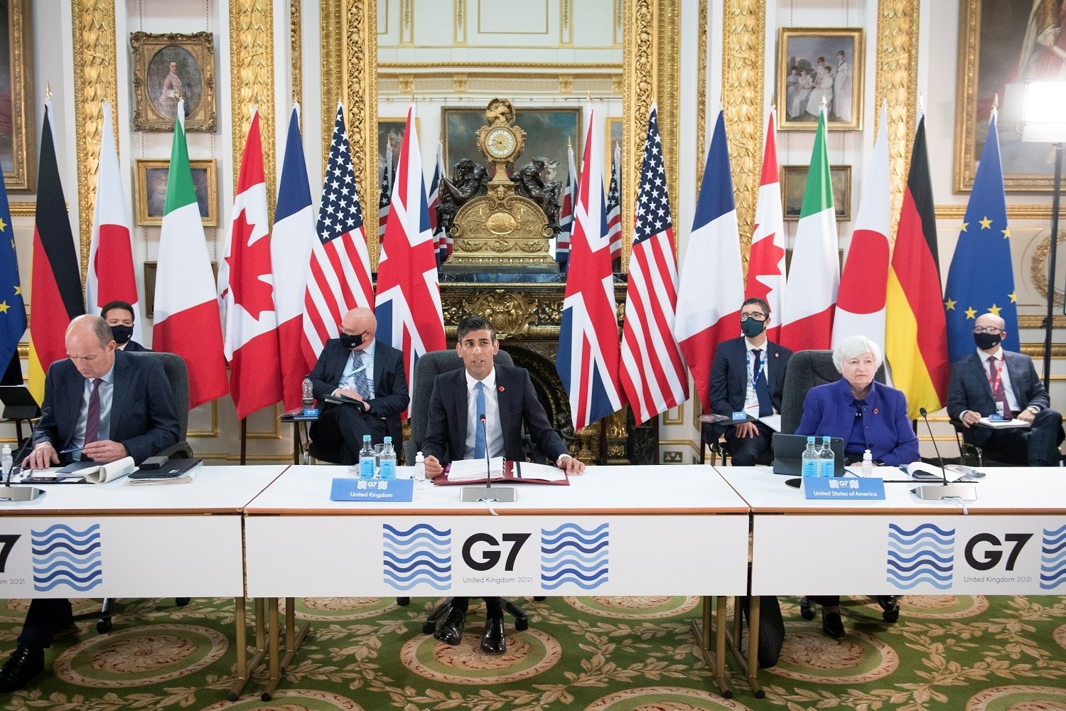Britain's Chancellor of the Exchequer Rishi Sunak speaks at a meeting of finance ministers from across the G7 nations ahead of the G7 leaders' summit, at Lancaster House in London, Britain June 4, 2021. Stefan Rousseau/PA Wire/Pool via REUTERS - RC2KTN9E4304