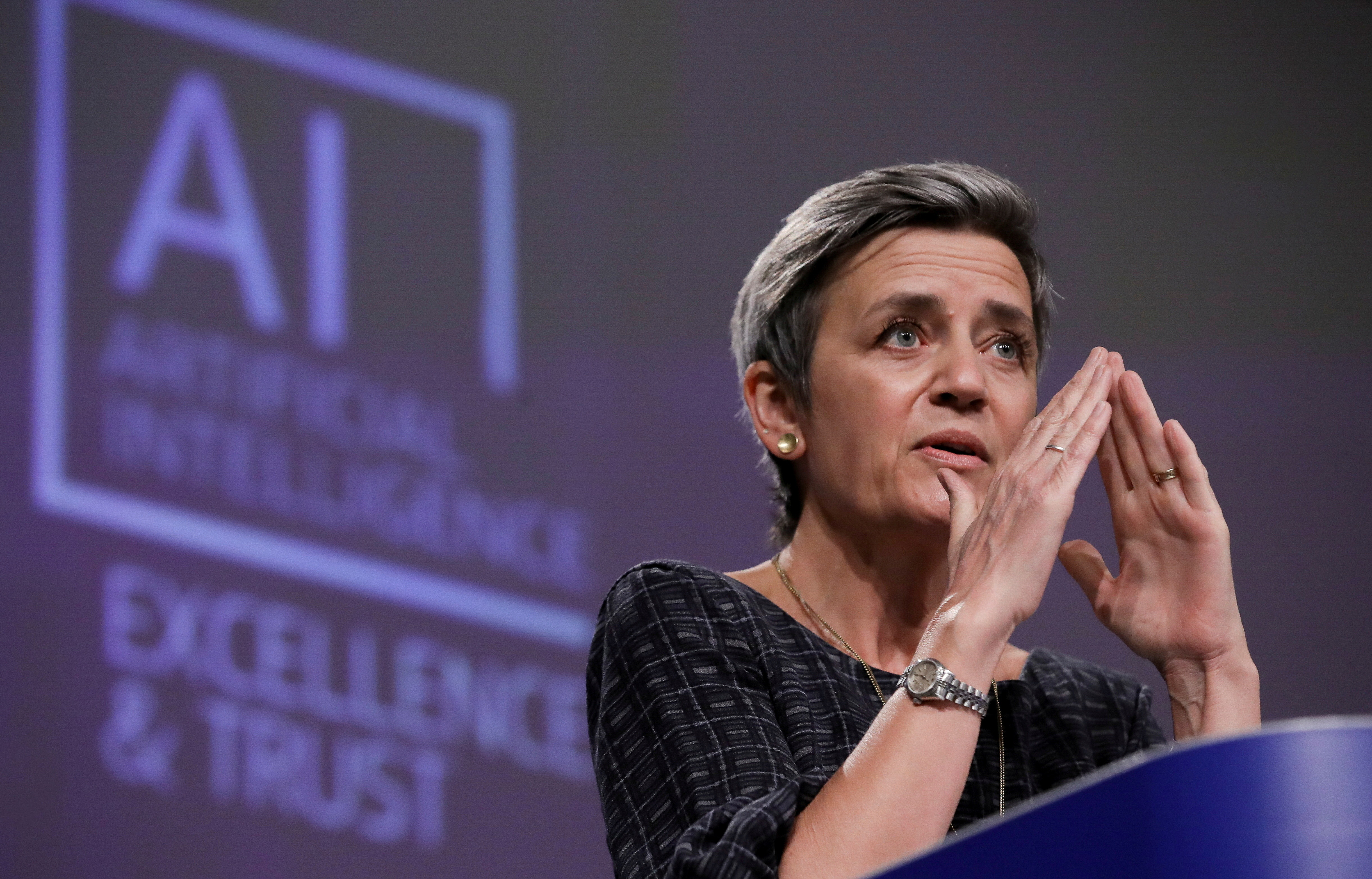 European Executive Vice-President Margrethe Vestager speaks at a media conference on the EU approach to Artificial Intelligence following a weekly meeting of EU Commission in Brussels, Belgium, April 21, 2021. Olivier Hoslet/Pool via REUTERS - RC2B0N9IYPRY
