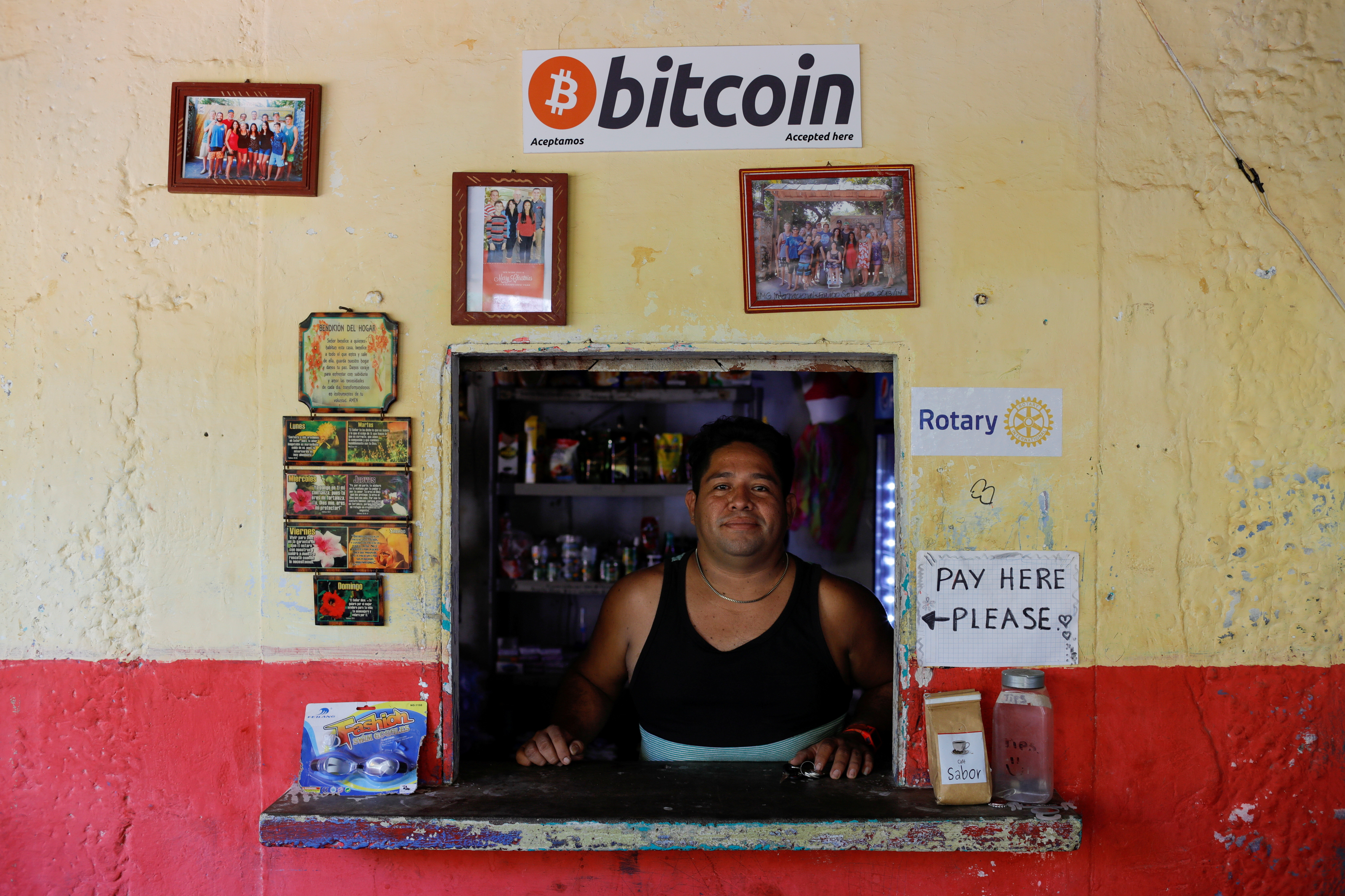 Roberto Carlos Silva, owner of La Zontena store, poses at his business where he accepts Bitcoins at El Zonte Beach in Chiltiupan, El Salvador June 8, 2021. REUTERS/Jose Cabezas     TPX IMAGES OF THE DAY - RC2GWN9FY5PG