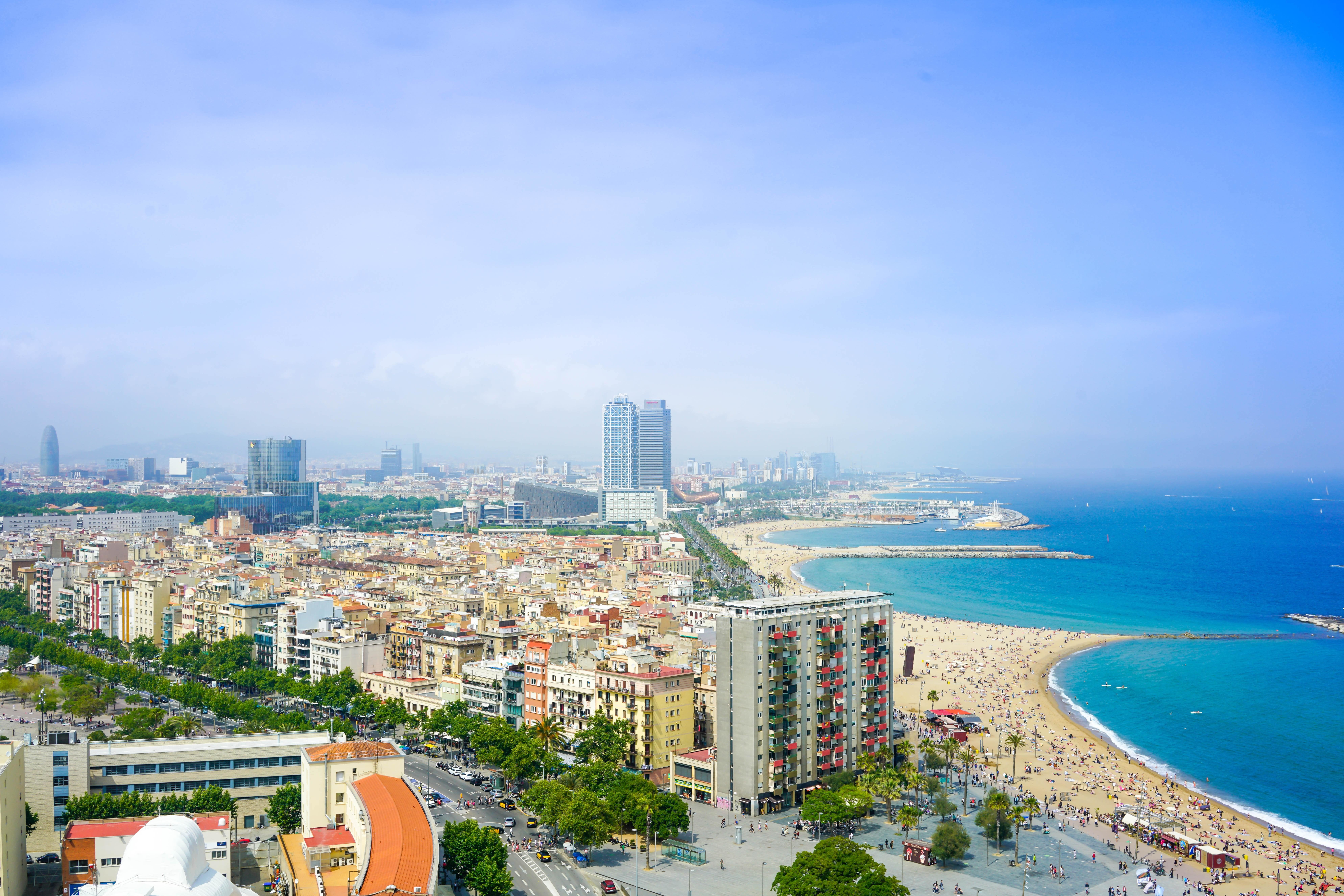 an arial picture of Barcelona beach