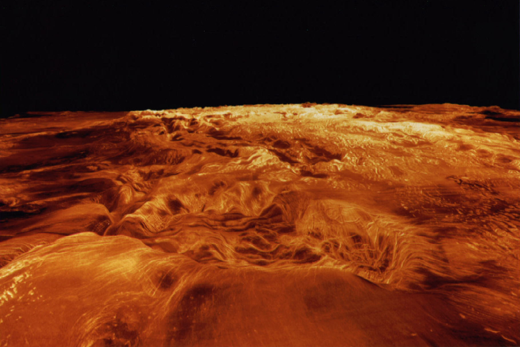 This computer-generated perspective view of the highland of Ovda Region on Venus shows Magellan radar datasuperimposed on topography. The image was released by NASA May 26 and it was made up of compilation of radar images collected during all three of Magellan's eight month mapping cycles - PBEAHUNJDBQ