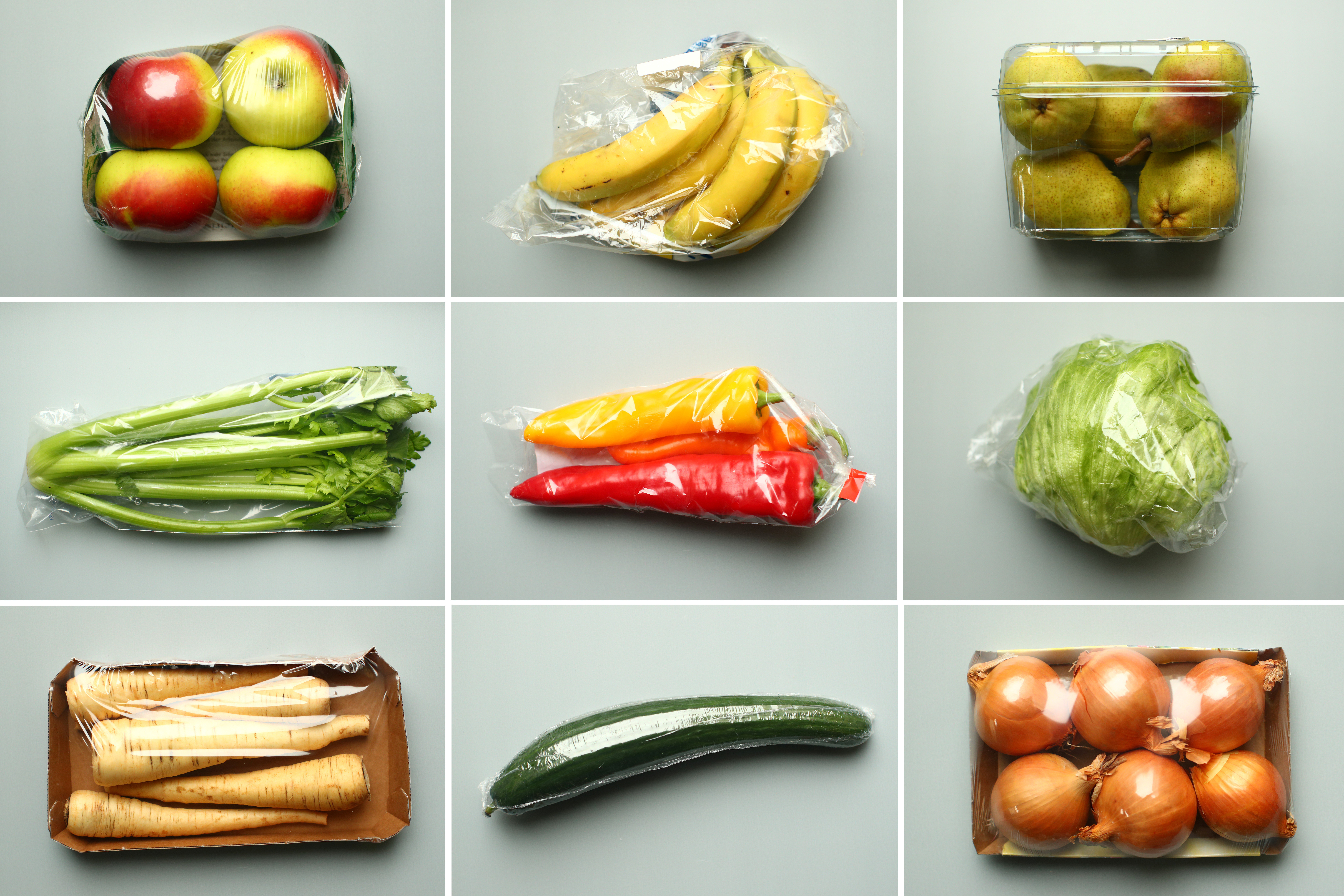 a combination of illustrations shows apples, bananas, pears, celery, peppers, a head of lettuce, parsnips, a cucumber and onions, wrapped in plastic as bought in a supermarket, taken November 20, 2018. REUTERS/Lisi Niesner/Illustration - RC1AAD6CCE00