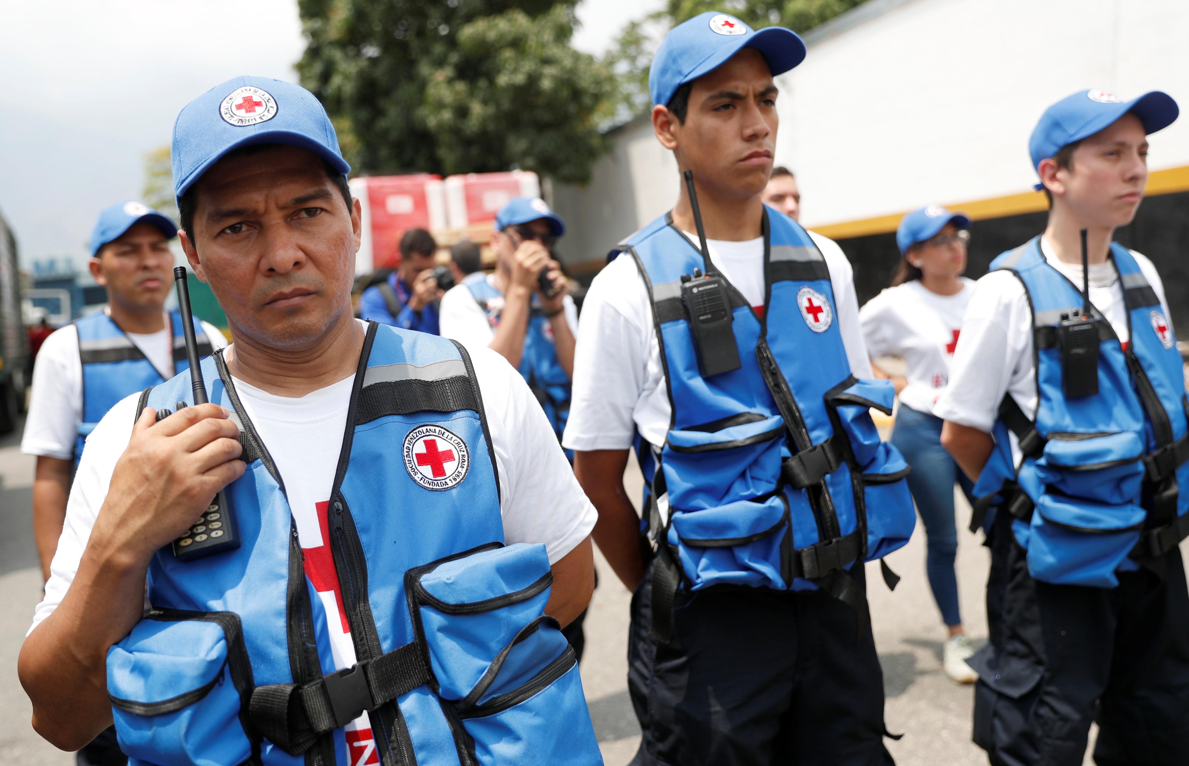 Venezuelan Red Cross workers in Caracas.