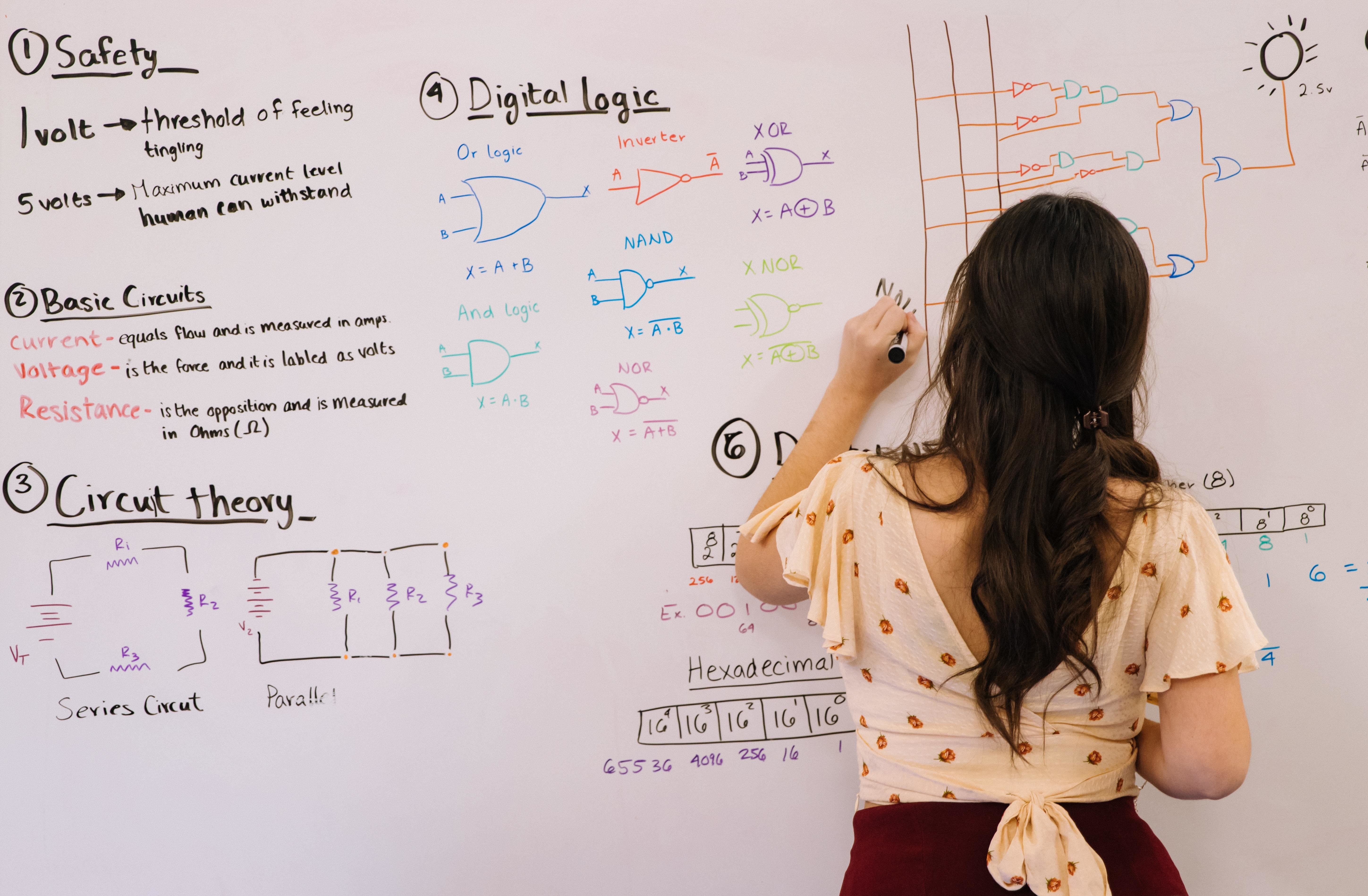A student solves electrical circuit problems on a whiteboard.