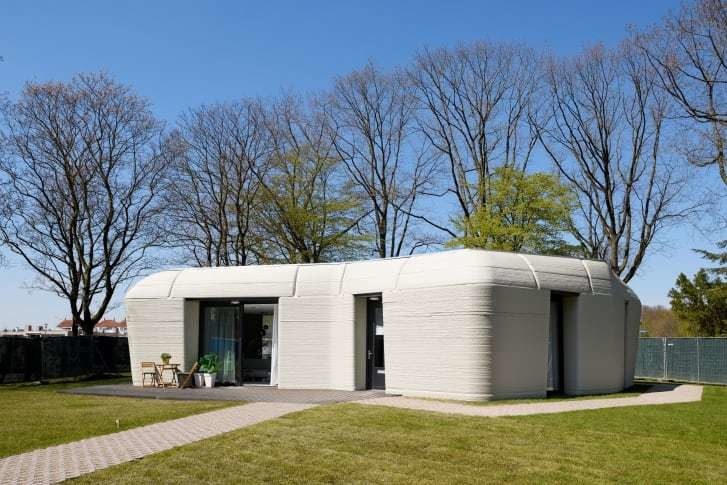 image of the first ever 3D-printed house, located in the Netherlands