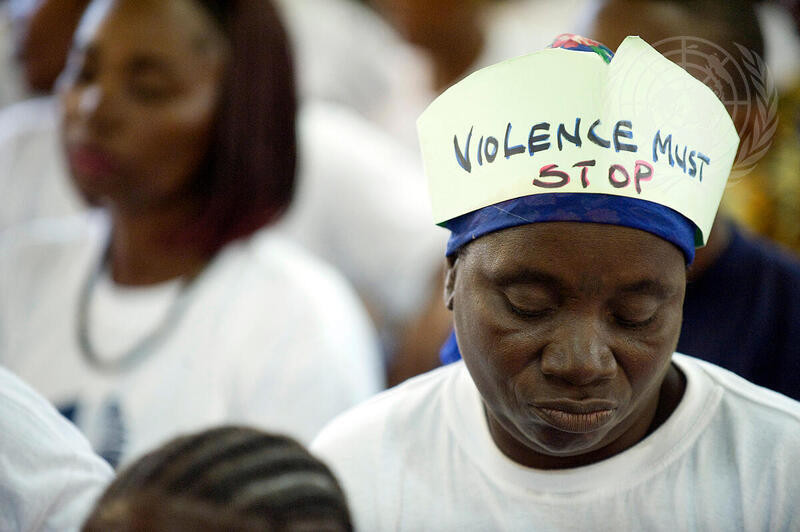 """Women participate in the """"""""16 days of Activism"""""""" campaign, launched by the United Nations Mission in Liberia (UNMIL) to strengthen the rights of women and stop gender-based violence."""