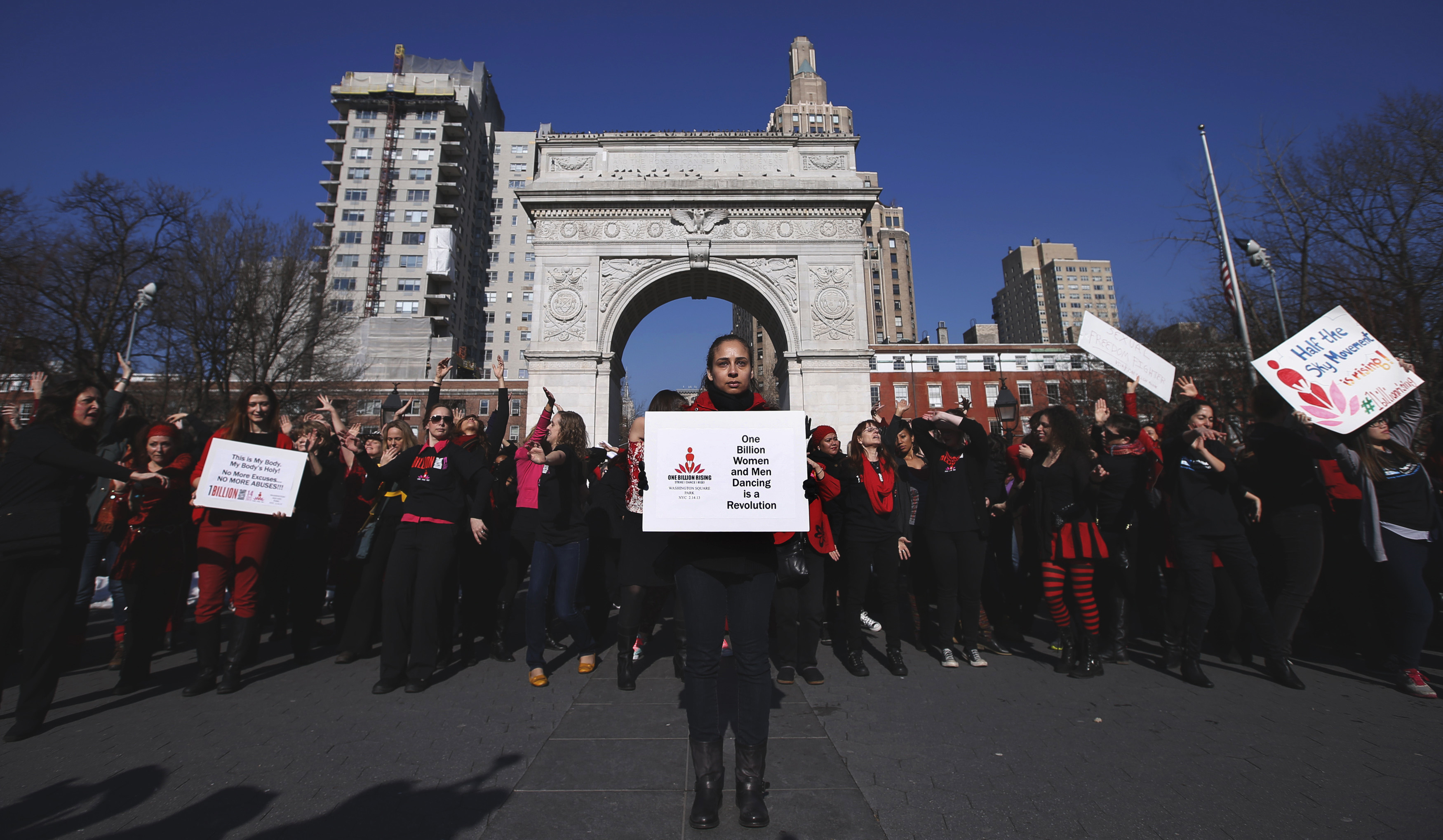 Protesters in New York denounce violence against women and girls.