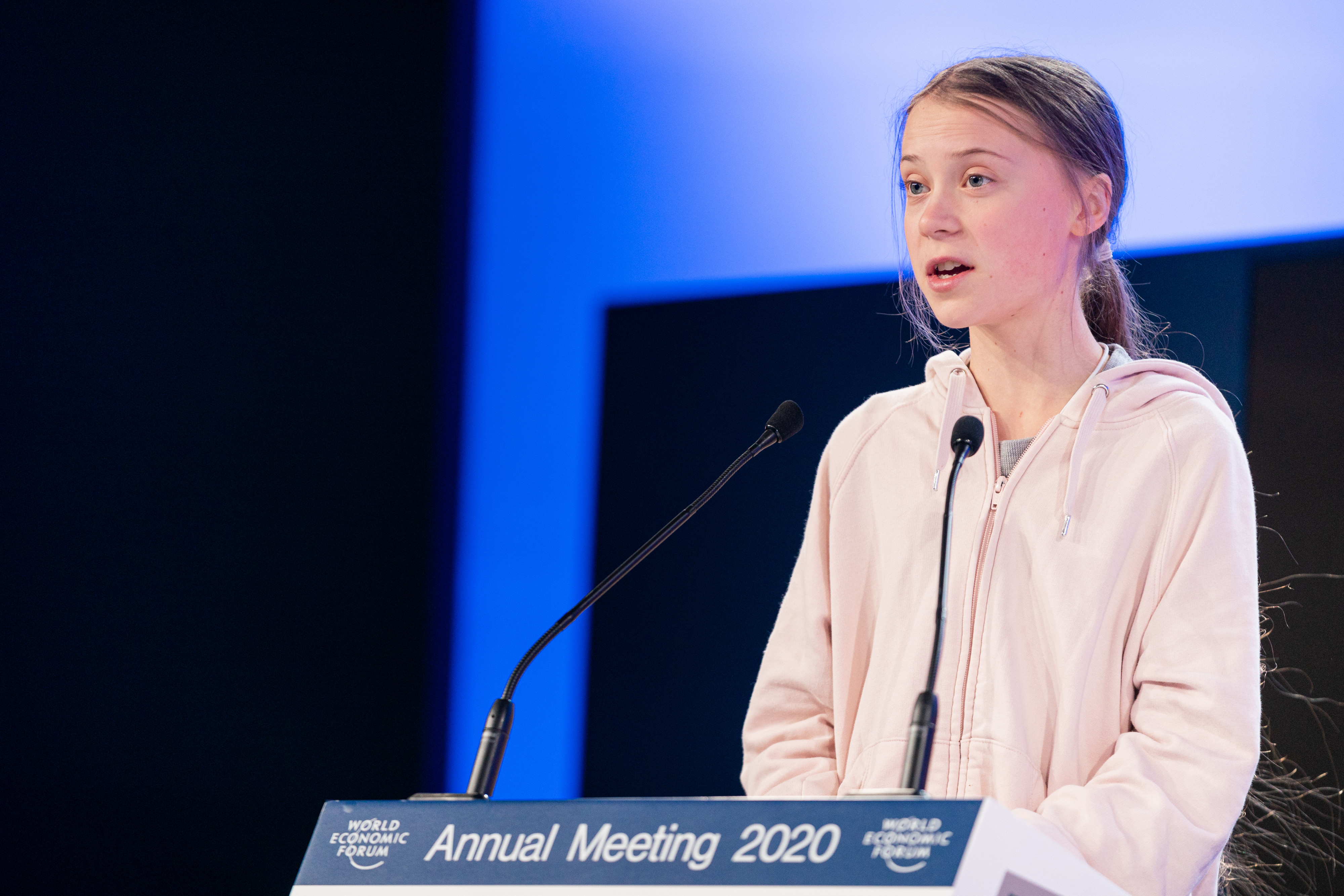 Greta Thunberg, Climate and Environmental Activist, Sweden speaking in the Averting a Climate Apocalypse at the World Economic Forum Annual Meeting 2020 in Davos-Klosters, Switzerland, 21 January. Congress Centre - Sanada. Copyright by World Economic Forum / Manuel Lopez