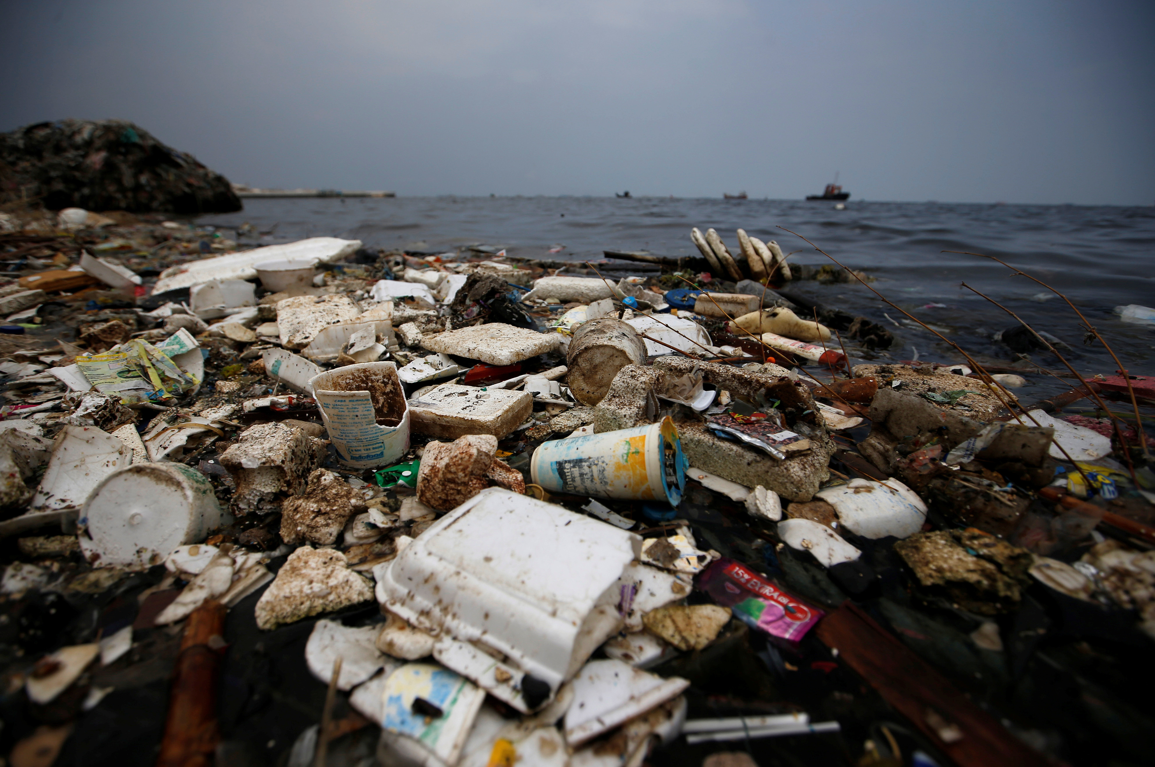 Plastic and styrofoam garbage litters the shoreline in Cilincing in Jakarta, Indonesia, Indonesia, November 26, 2018.