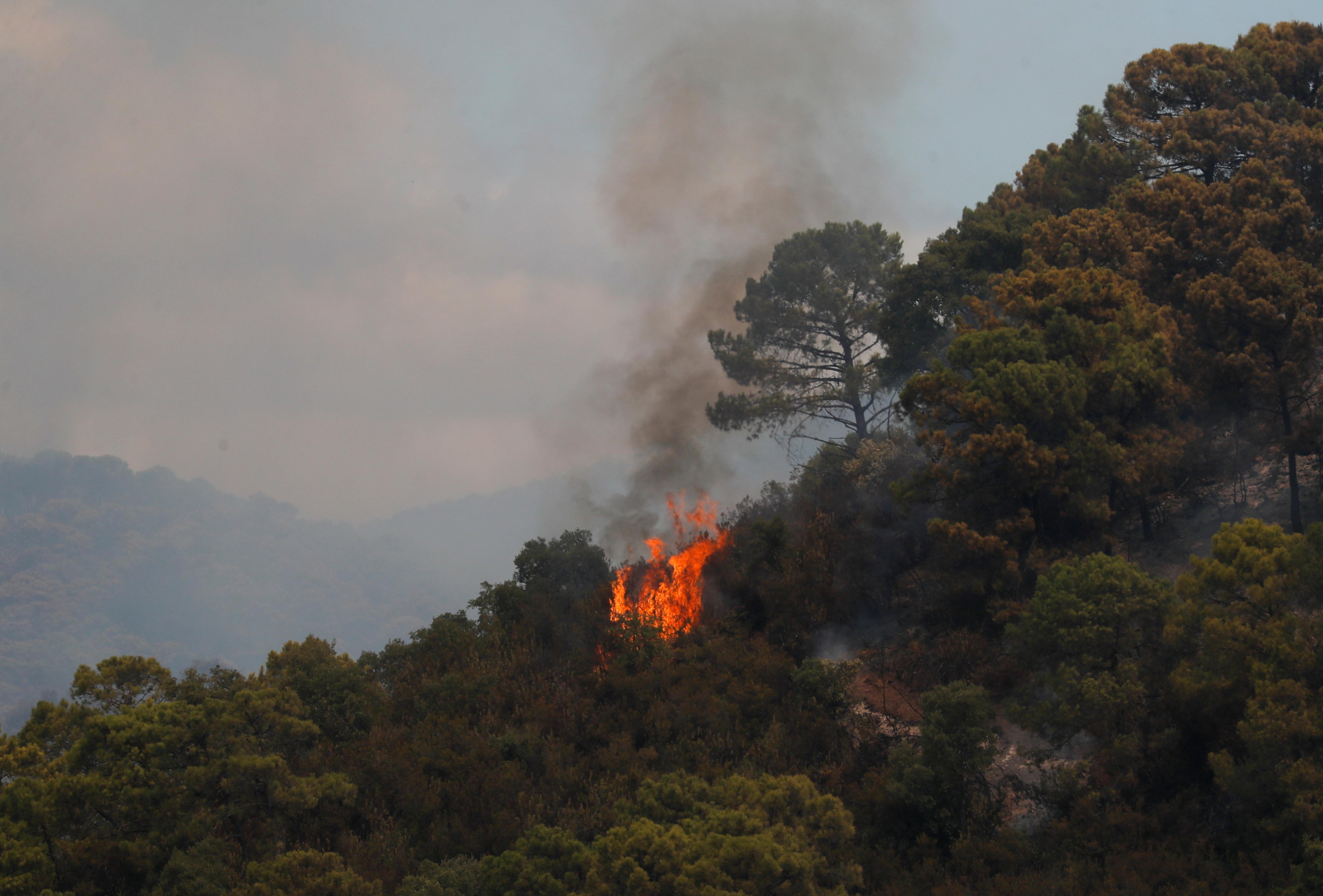 a wildfire burns on Sierra Bermeja mountain in Estepona, Spain, September 9, 2021