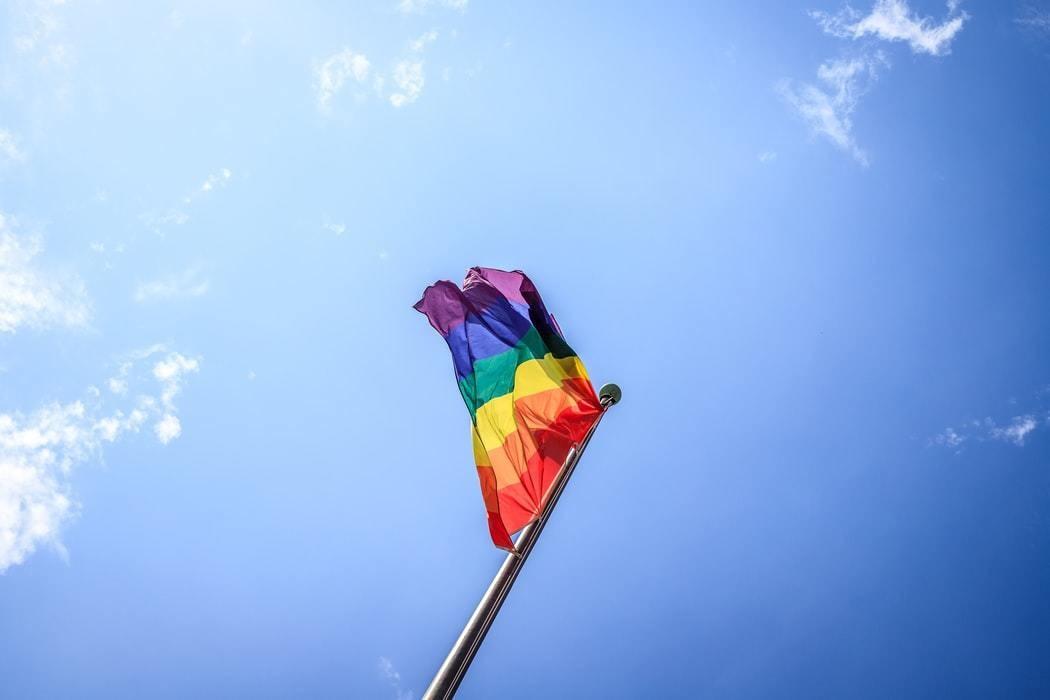 LGBTIQ flag in the sun.