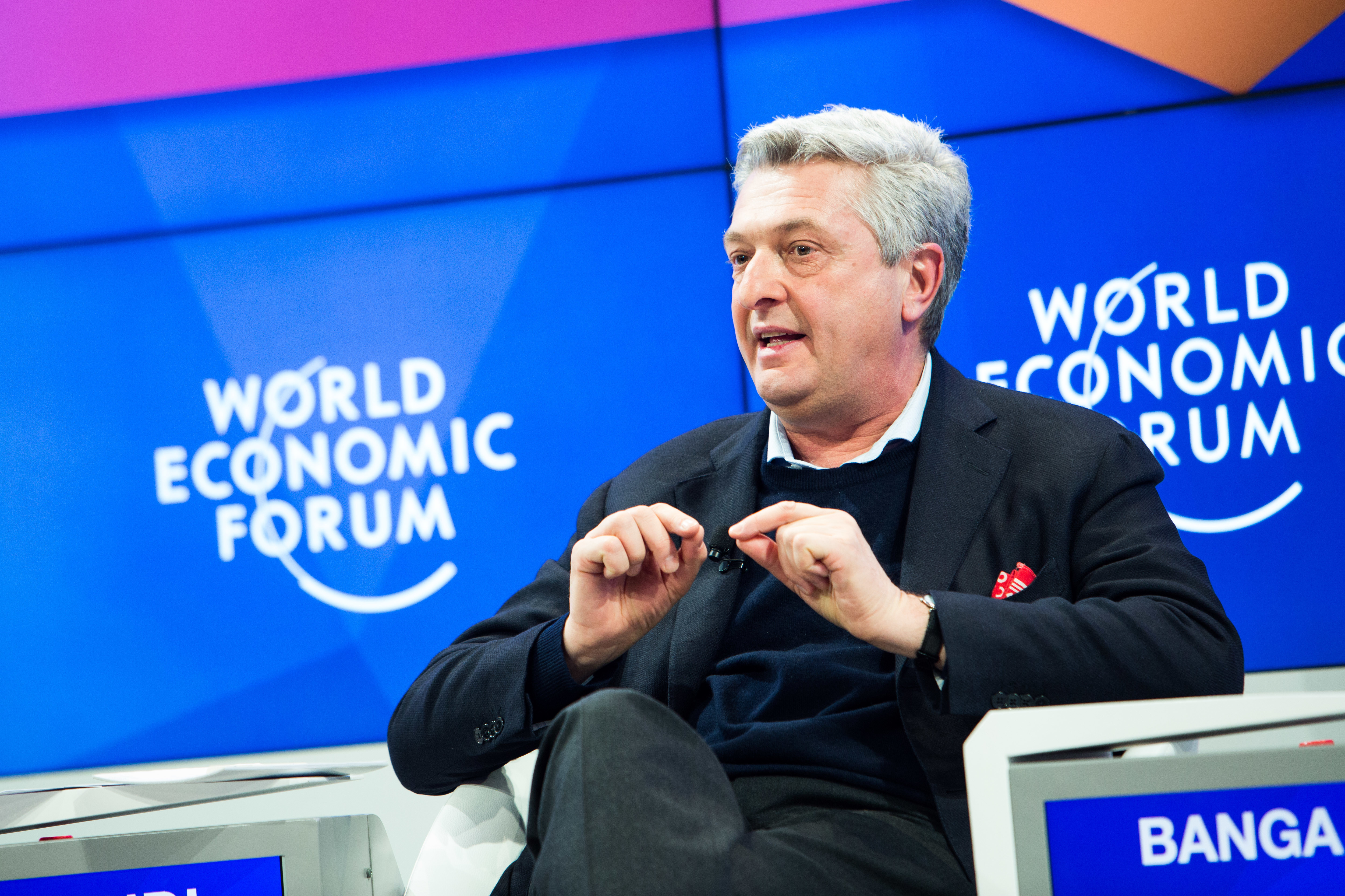 Filippo Grandi, United Nations High Commissioner for Refugees, Geneva speaking during the Session: Redesigning Humanitarian Action: Beyond the Crisis at the Annual Meeting 2017 of the World Economic Forum in Davos, January 18, 2017.Copyright by World Economic Forum / Sikarin Thanachaiary