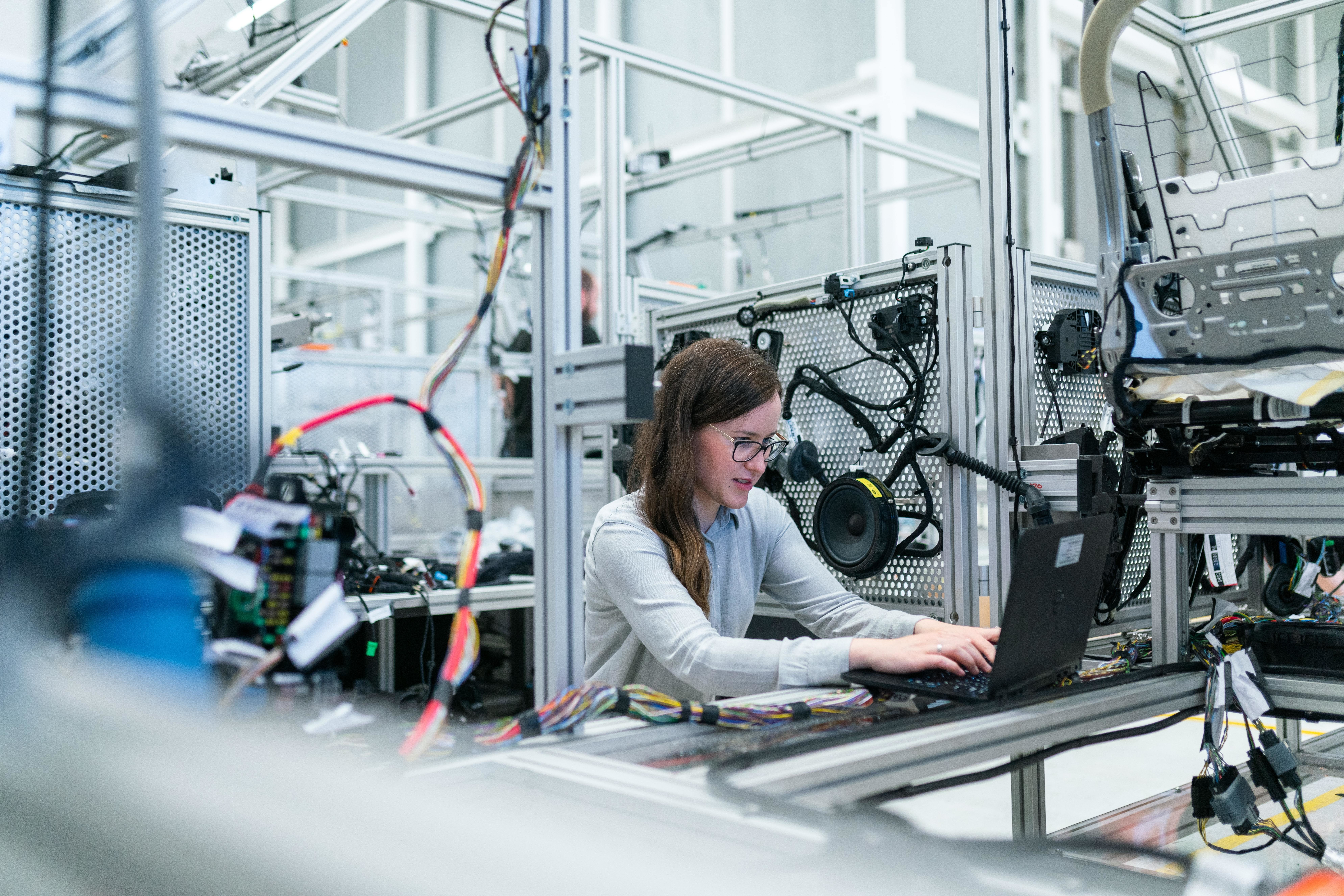 A woman engineer is pictured, as the CEO of the Royal Academy of Engineering calls for more women in engineering.