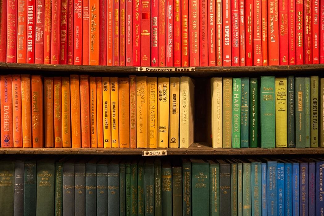A row of books.