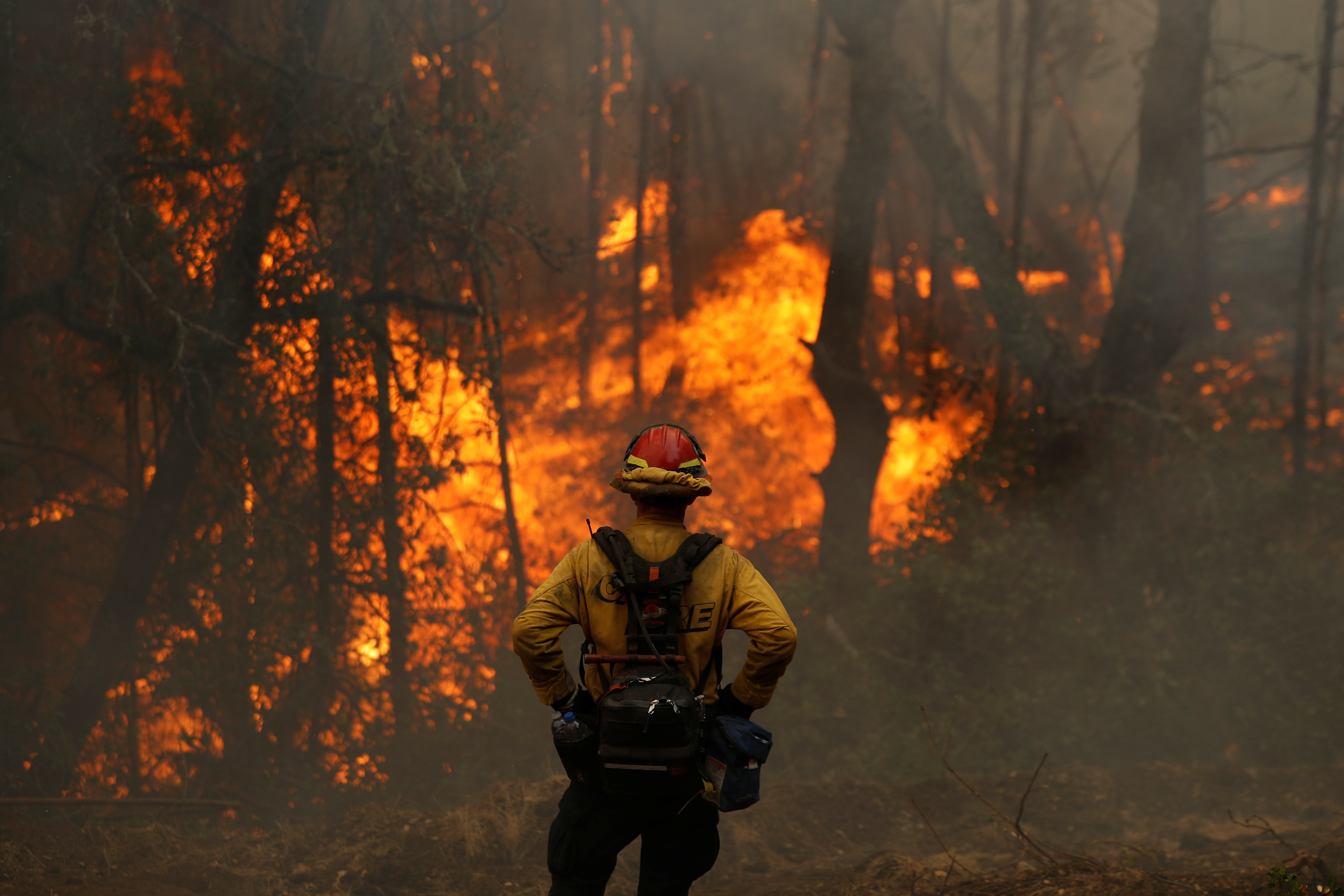 A Cal Fire firefighter monitors a firing operation while battling the Glass Fire in Calistoga, California, U.S. October 2, 2020.