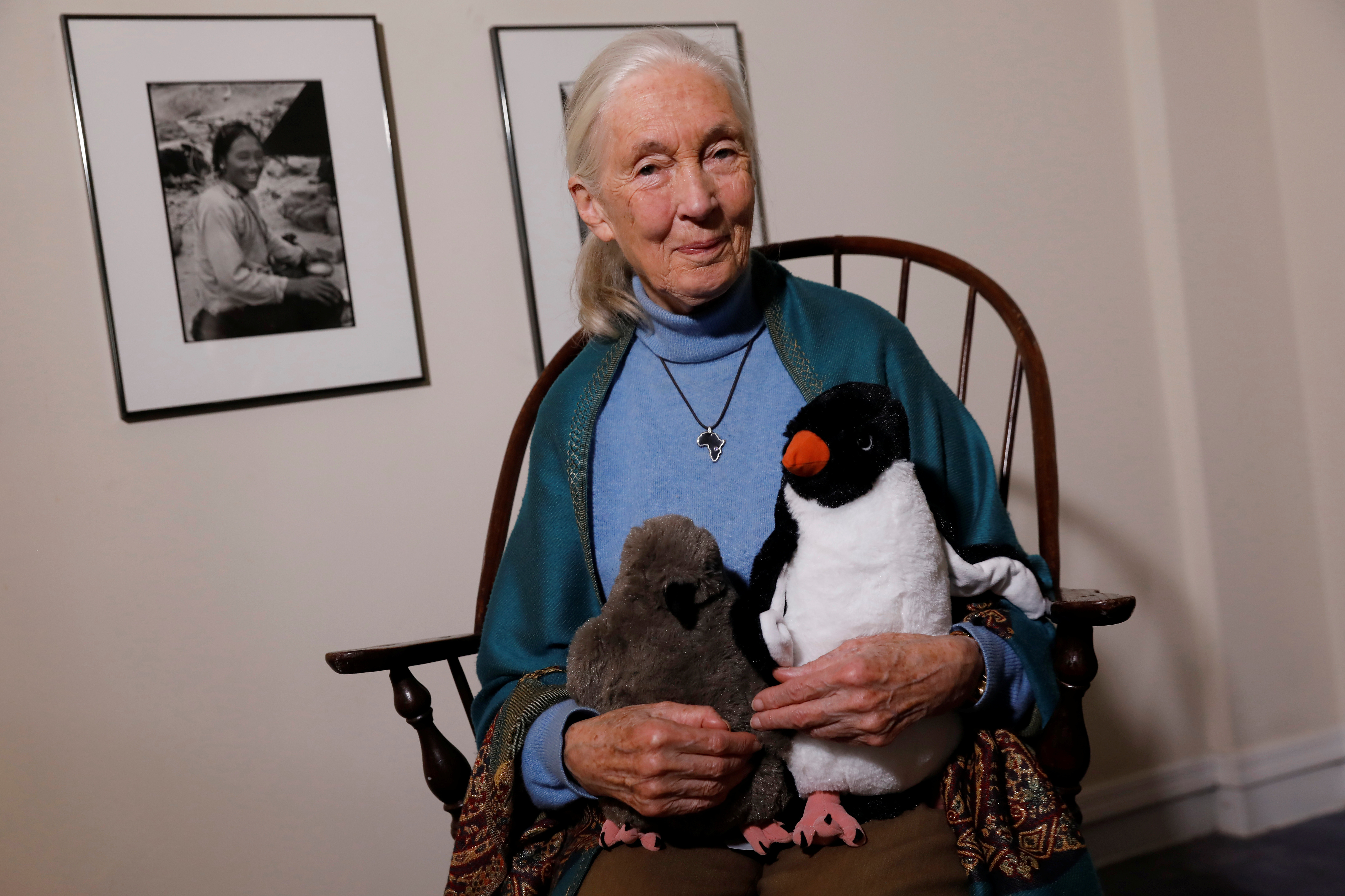 British primatologist, ethologist and anthropologist Jane Goodall poses for a portrait in New York, U.S., April 15, 2019. REUTERS/Shannon Stapleton - RC1F0150ED00