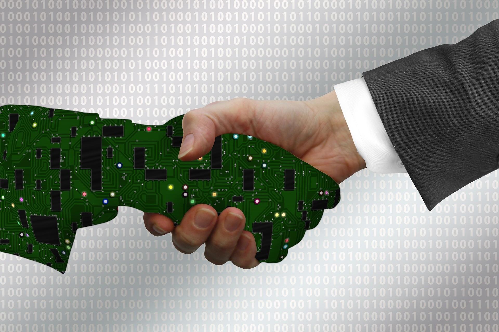 Visualisation of handshake between human and machine
