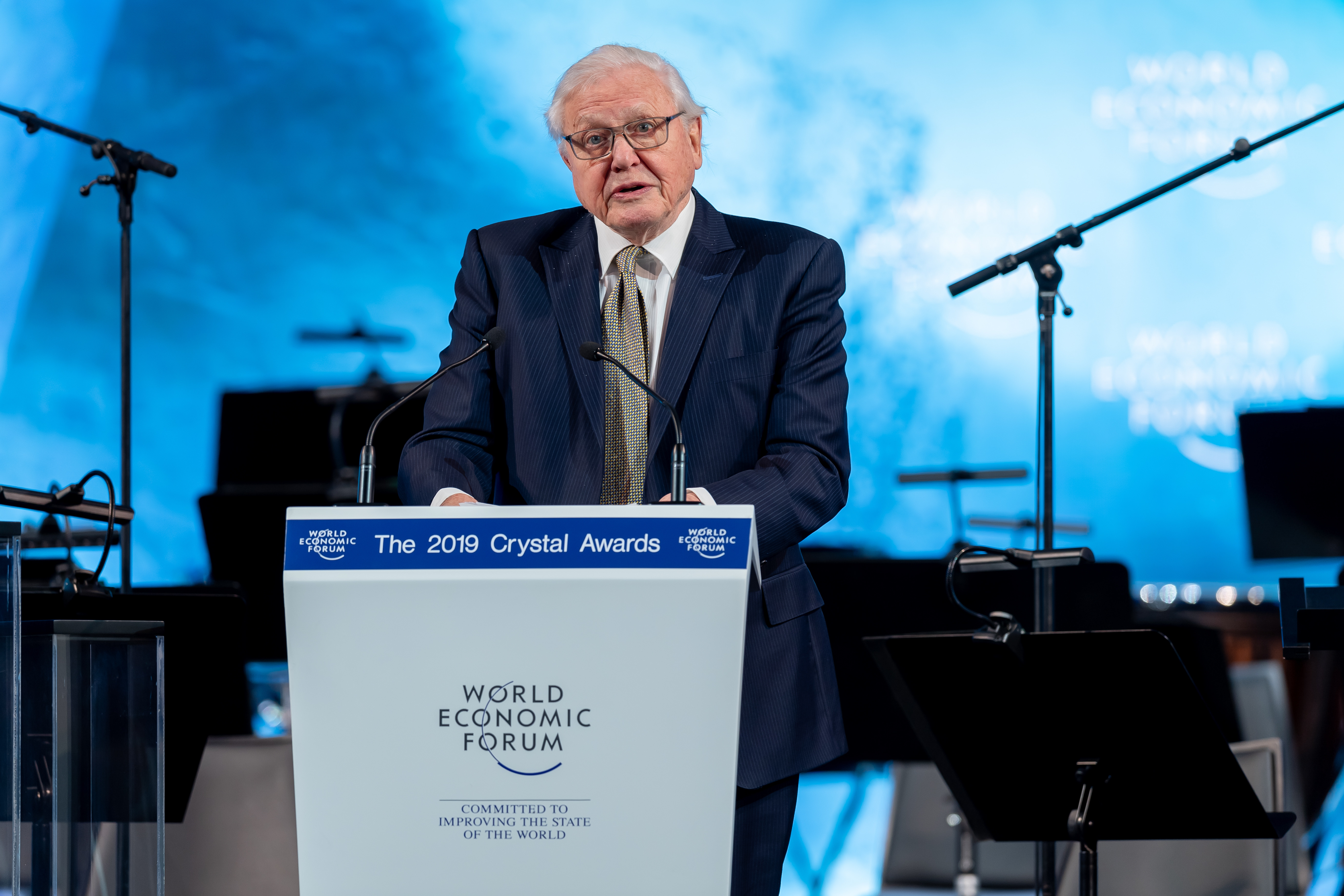 "Sir David Attenborough, Broadcaster and Naturalist, David Attenborough, United Kingdom; Cultural Leader speaking during the Session ""The 25th Crystal Awards"" at the Annual Meeting 2019 of the World Economic Forum in Davos, January 21, 2019.Copyright by World Economic Forum / Sandra Blaser"