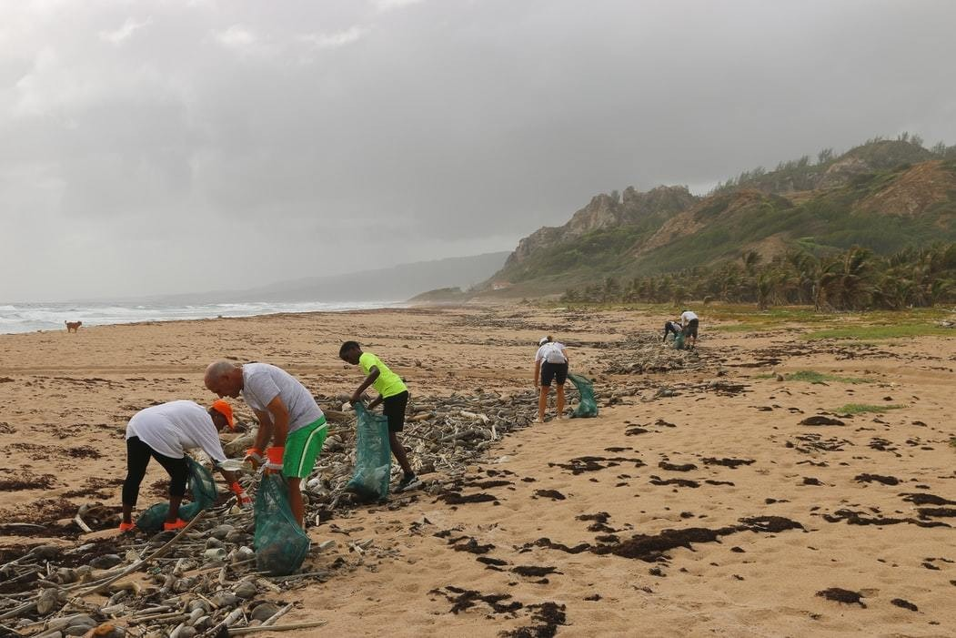 image of volunteers picking up plastic waste on a beach