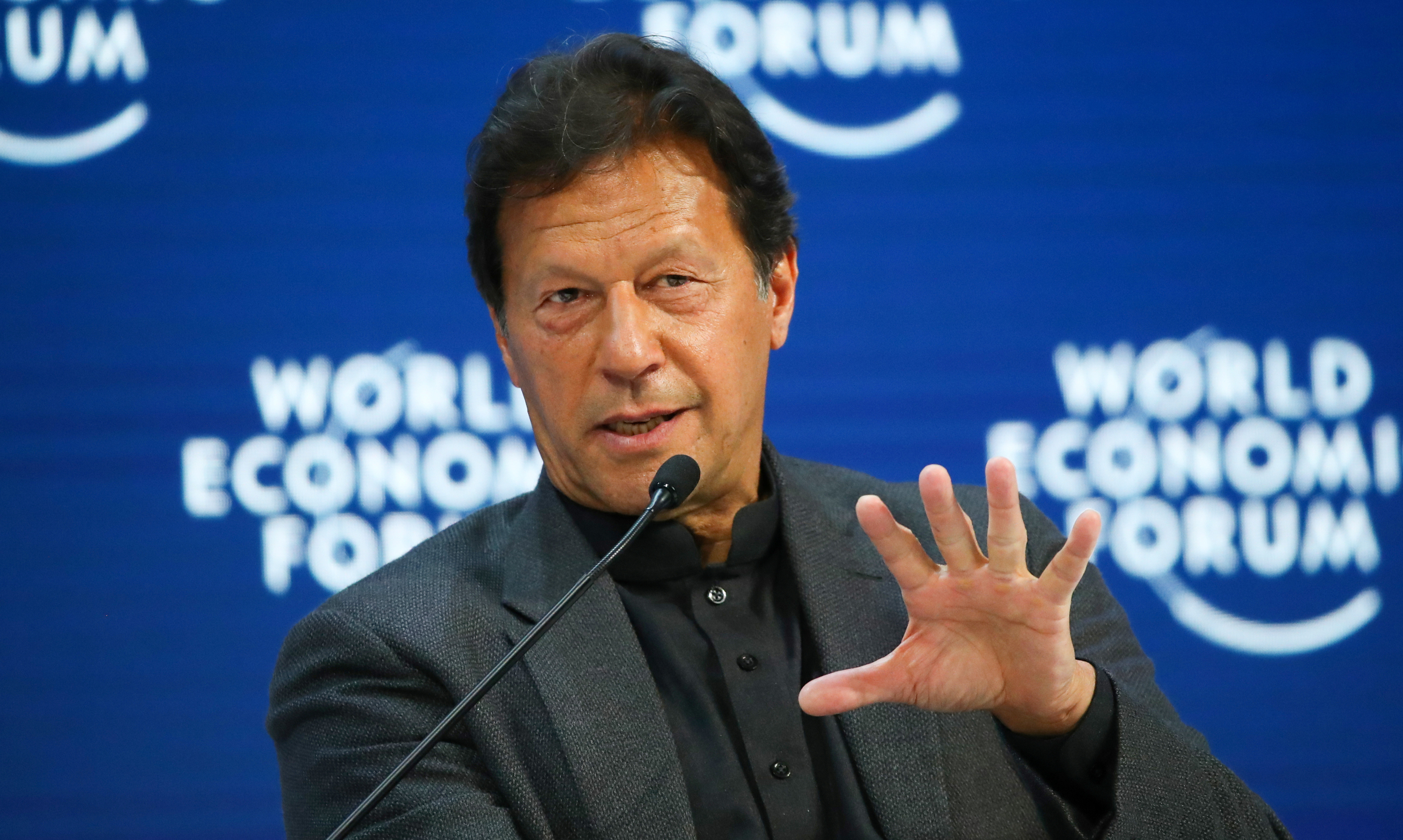 Pakistan's Prime Minister Imran Khan speaks during a session at the 50th World Economic Forum (WEF) in Davos, Switzerland, January 22, 2020.
