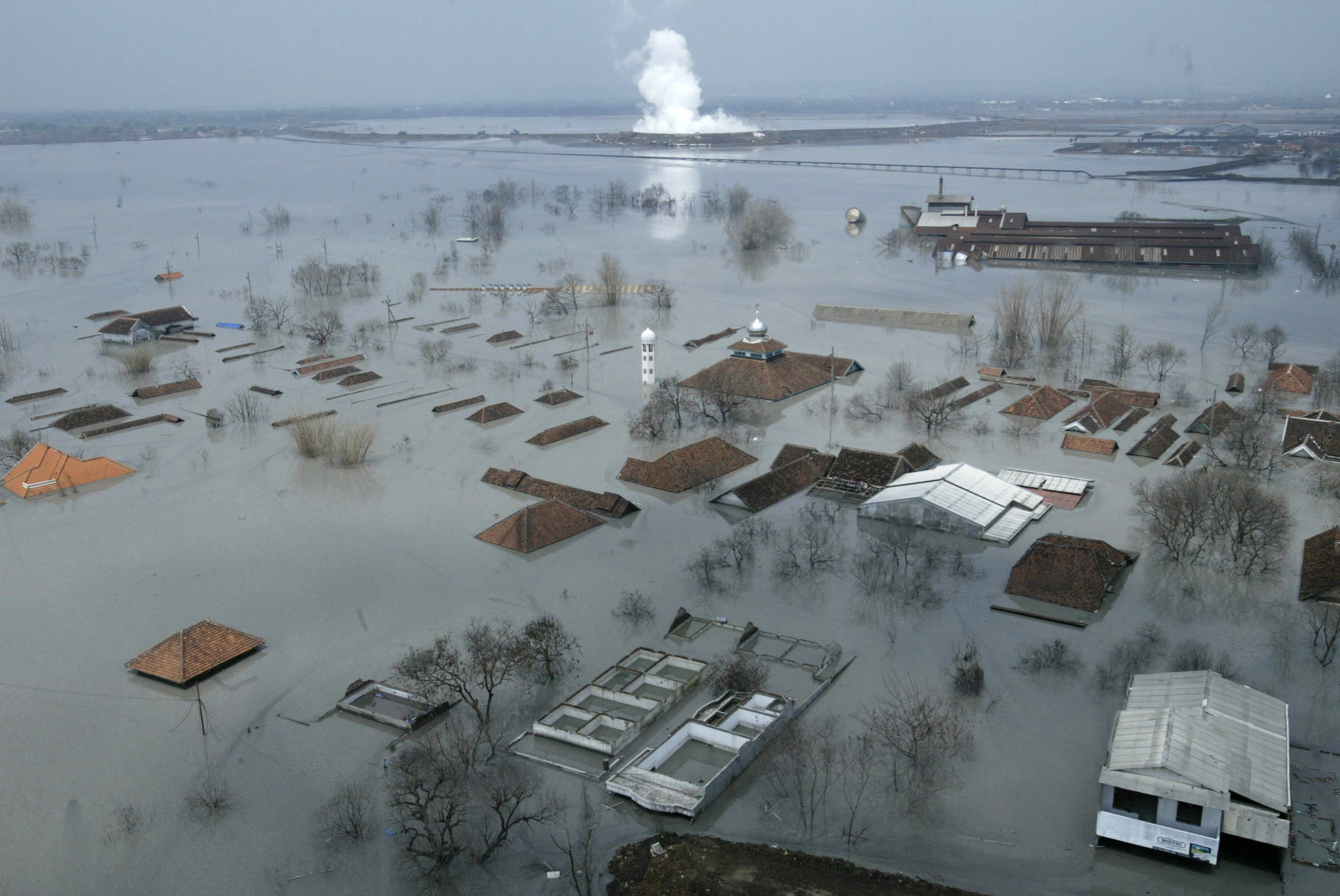 An aerial view shows houses flooded