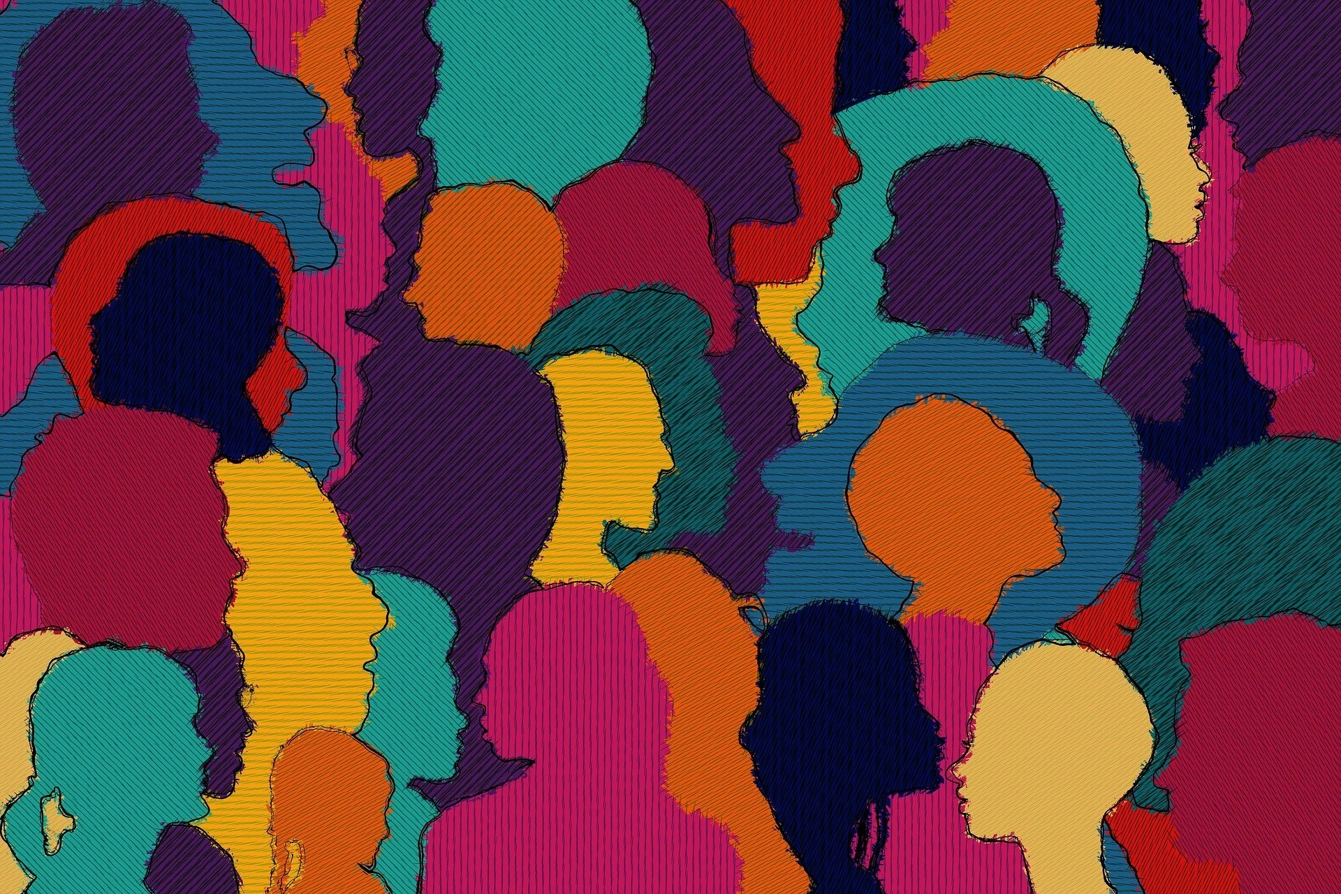 Multicoloured heads in a crowd