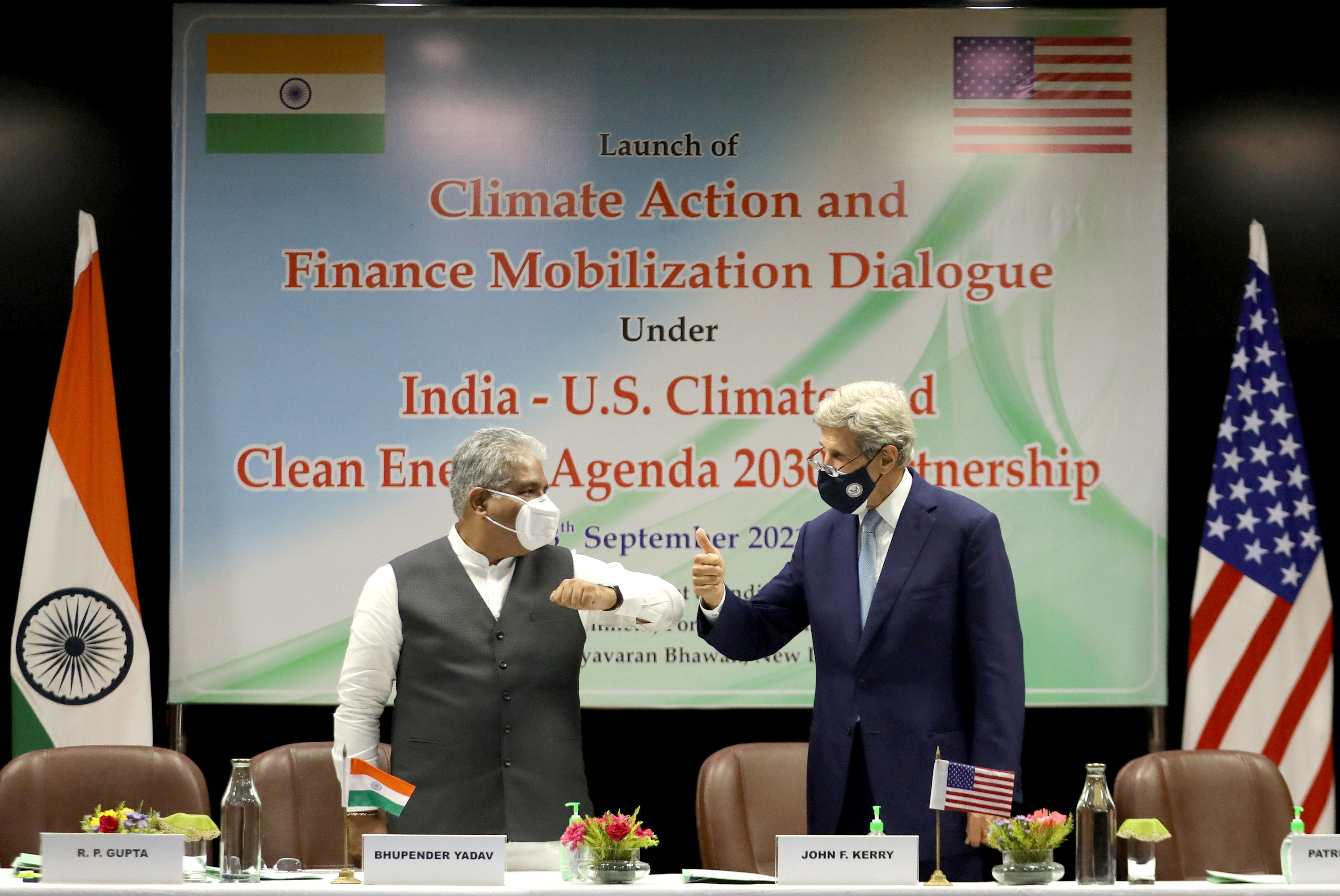 United States special presidential envoy for climate John Kerry and India?s Union Minister for Environment, Forest and Climate Change Bhupender Yadav launch the Climate Action and Finance Mobilisation Dialogue (CAFMD) under India-US Climate and Clean Energy Agenda 2030 Partnership, in New Delhi, India, September 13, 2021
