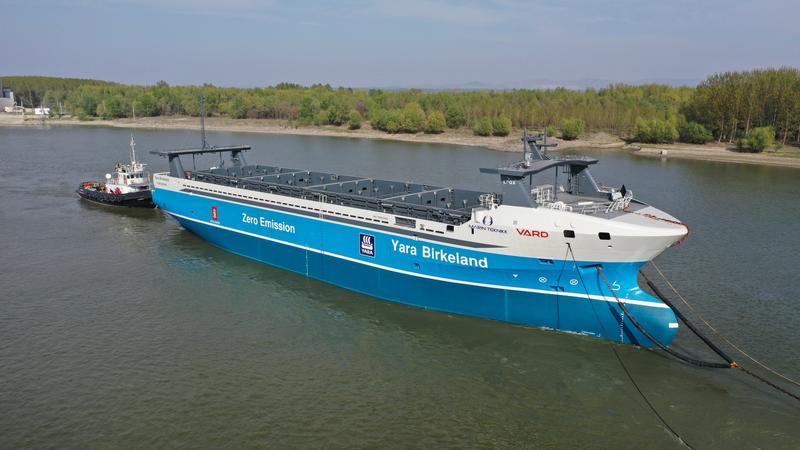 The Yara Birkeland zero-carbon container ship